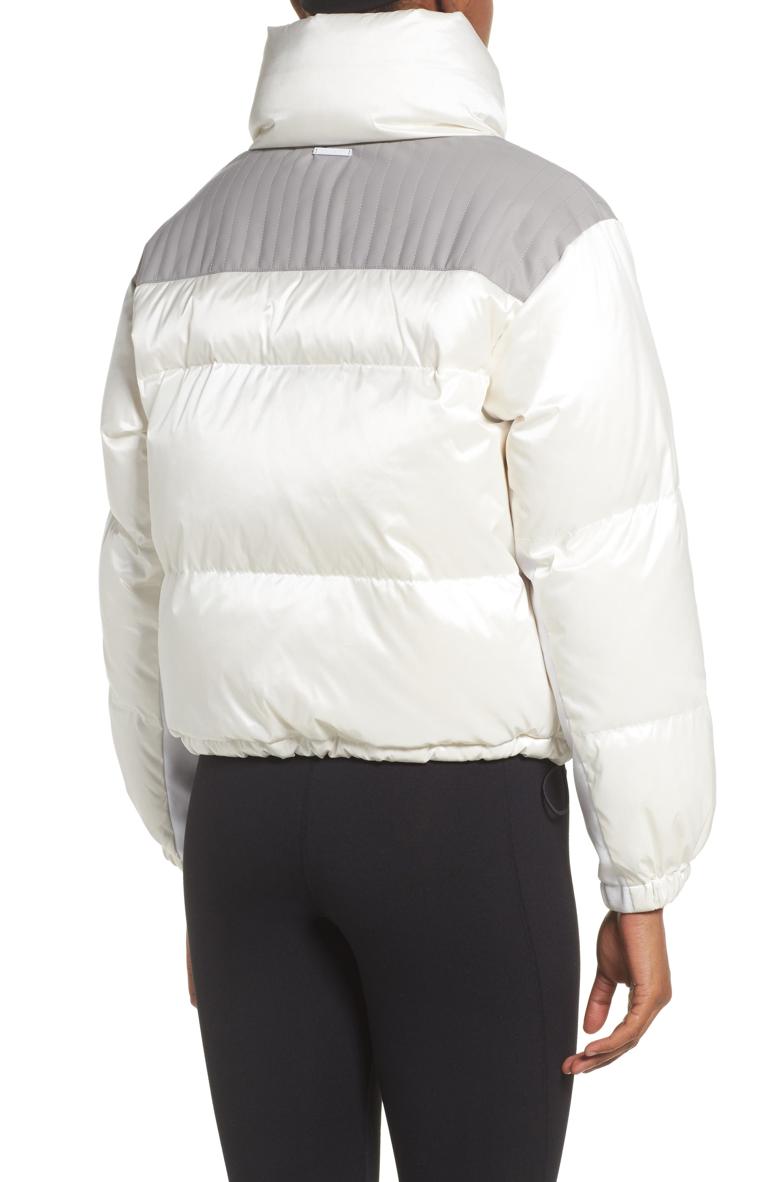 Reversible Puffer Jacket,                             Alternate thumbnail 3, color,                             WHITE/HEATHER GREY