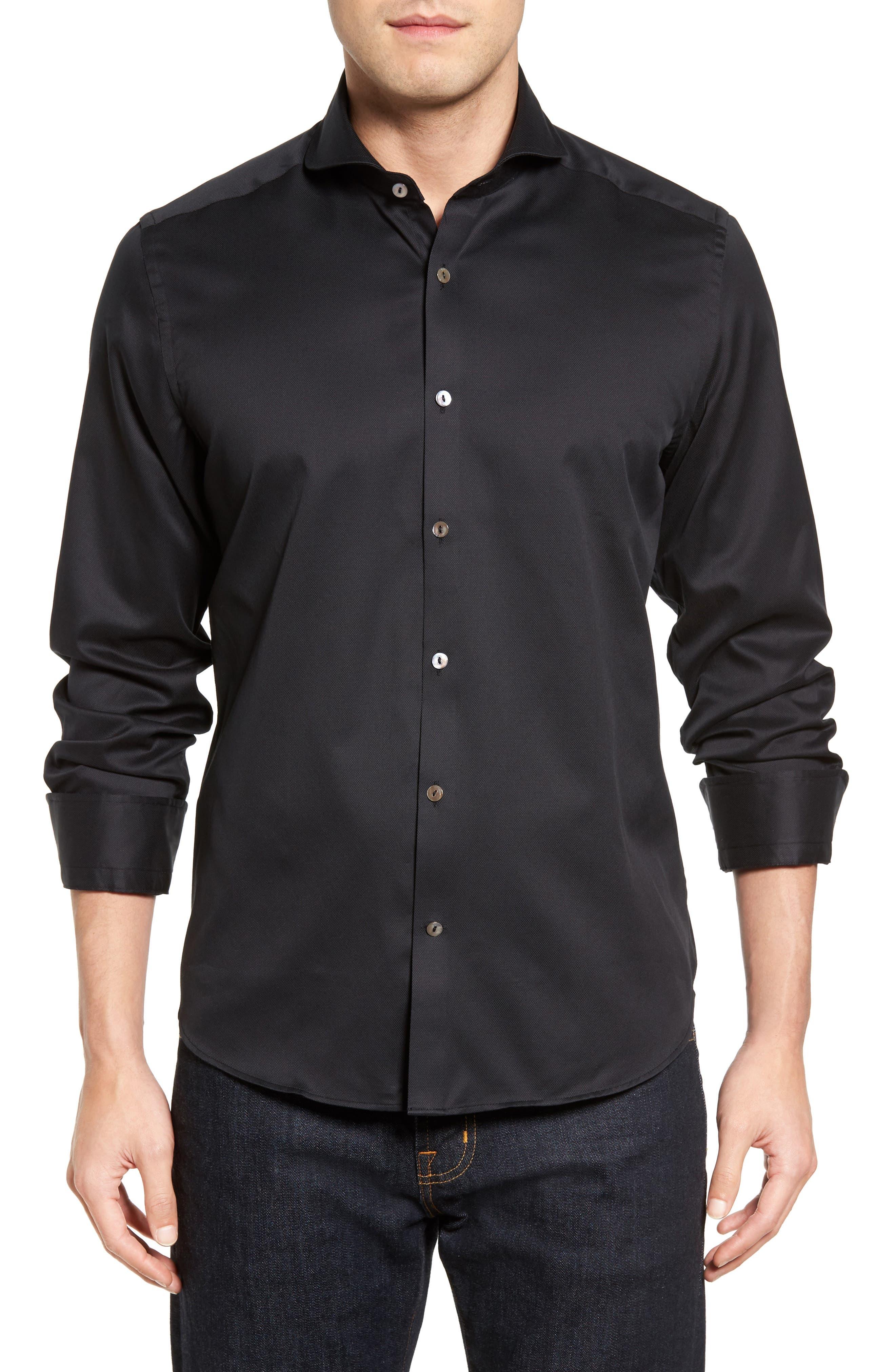 Textured Sport Shirt,                         Main,                         color, BLACK