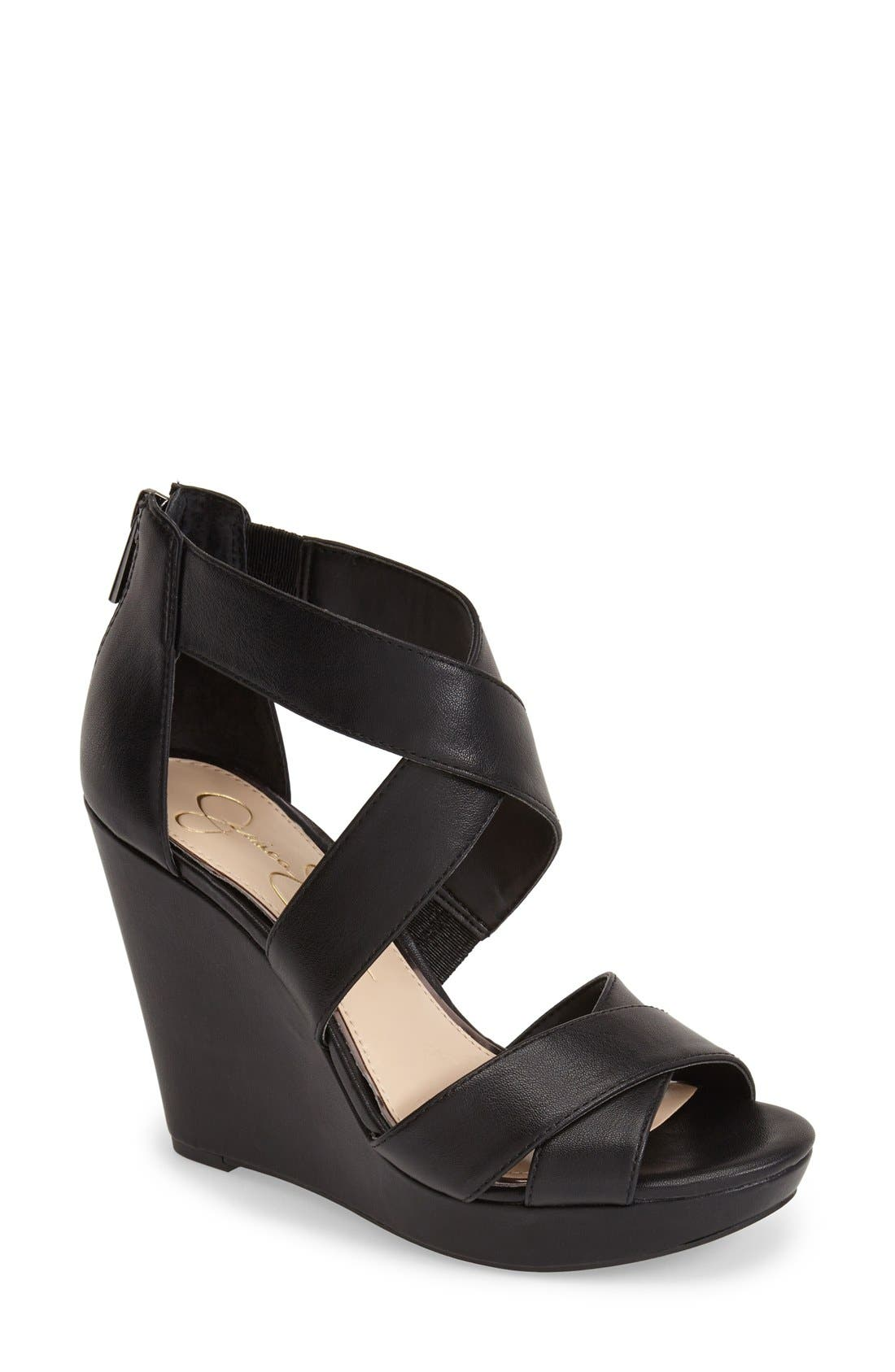 'Jadyn' Strappy Wedge Sandal,                             Main thumbnail 1, color,                             001