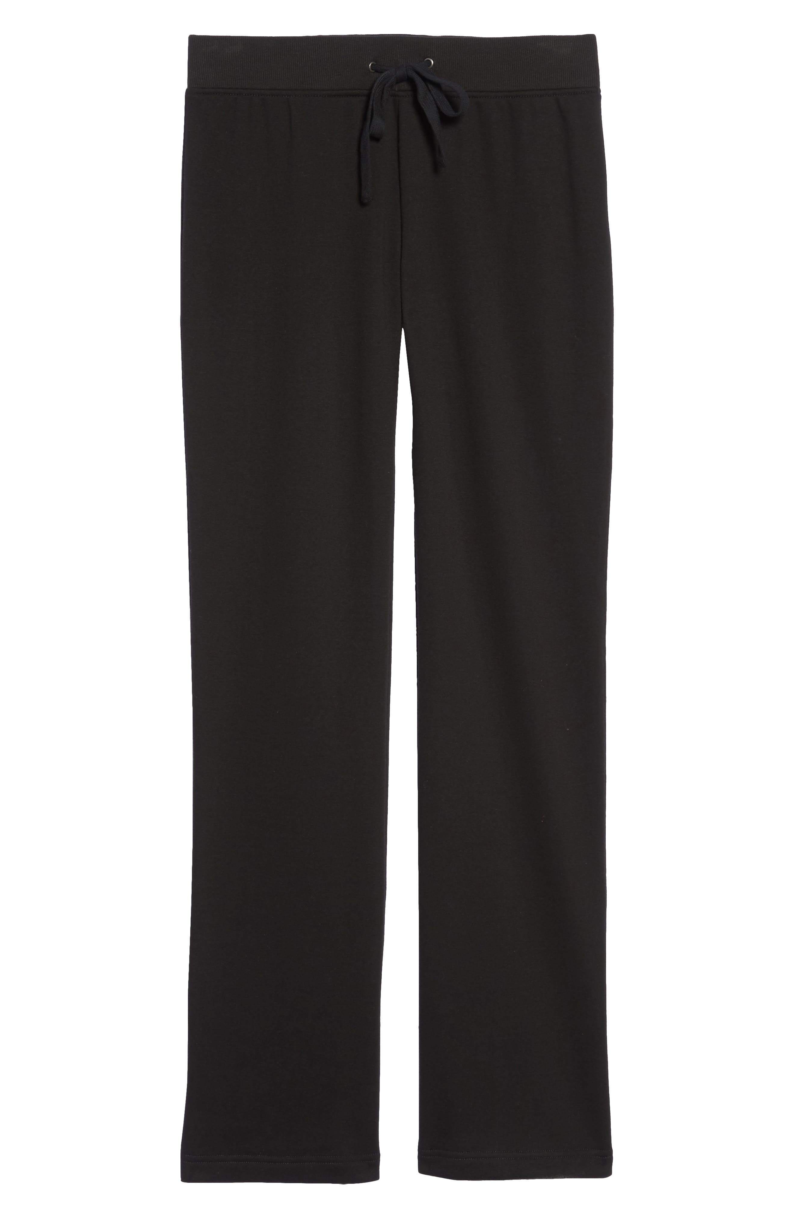 Penny Fleece Pants,                             Alternate thumbnail 6, color,                             BLACK