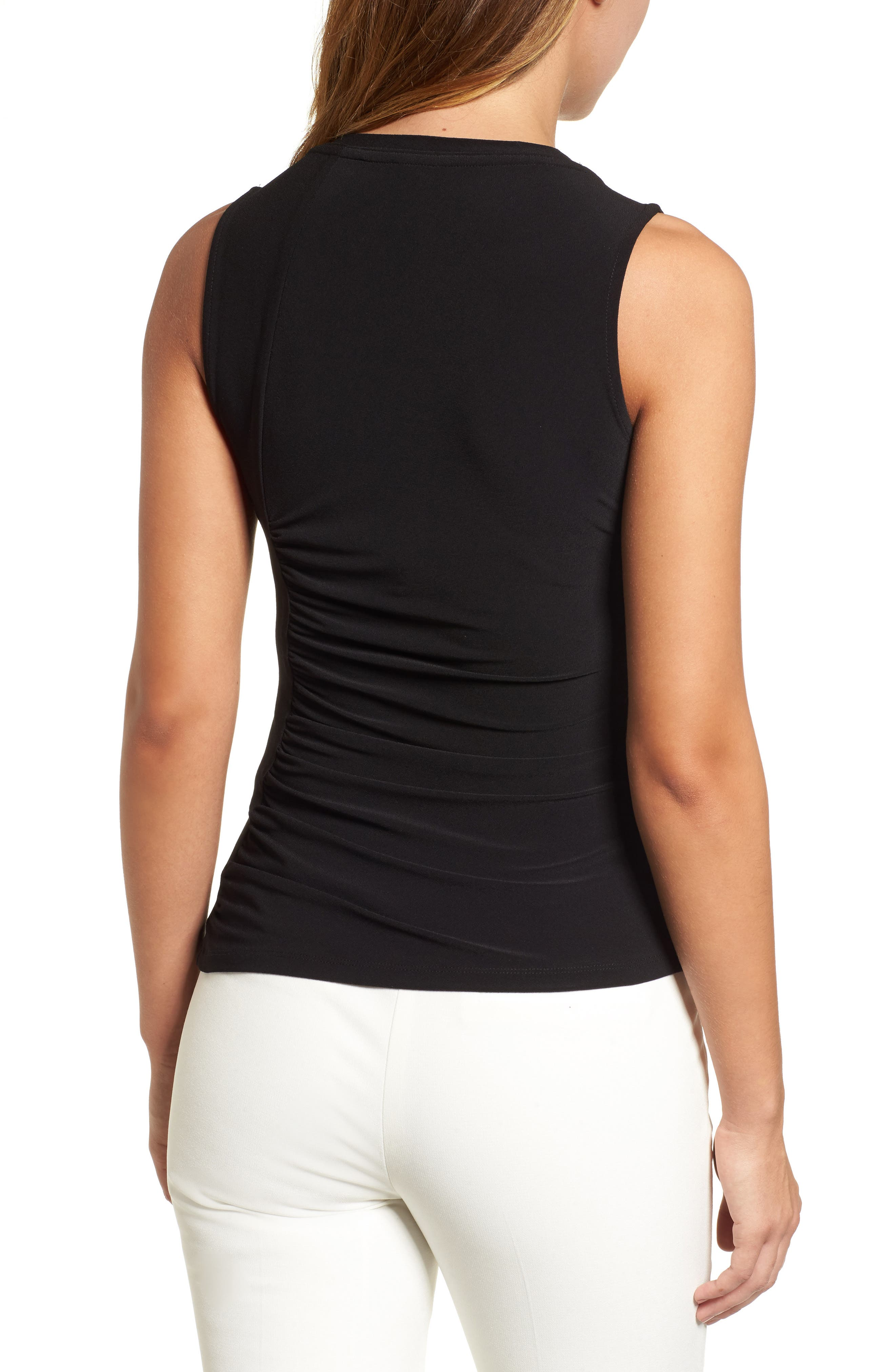 Ann Klein Side Ruched Knit Tank,                             Alternate thumbnail 2, color,                             001