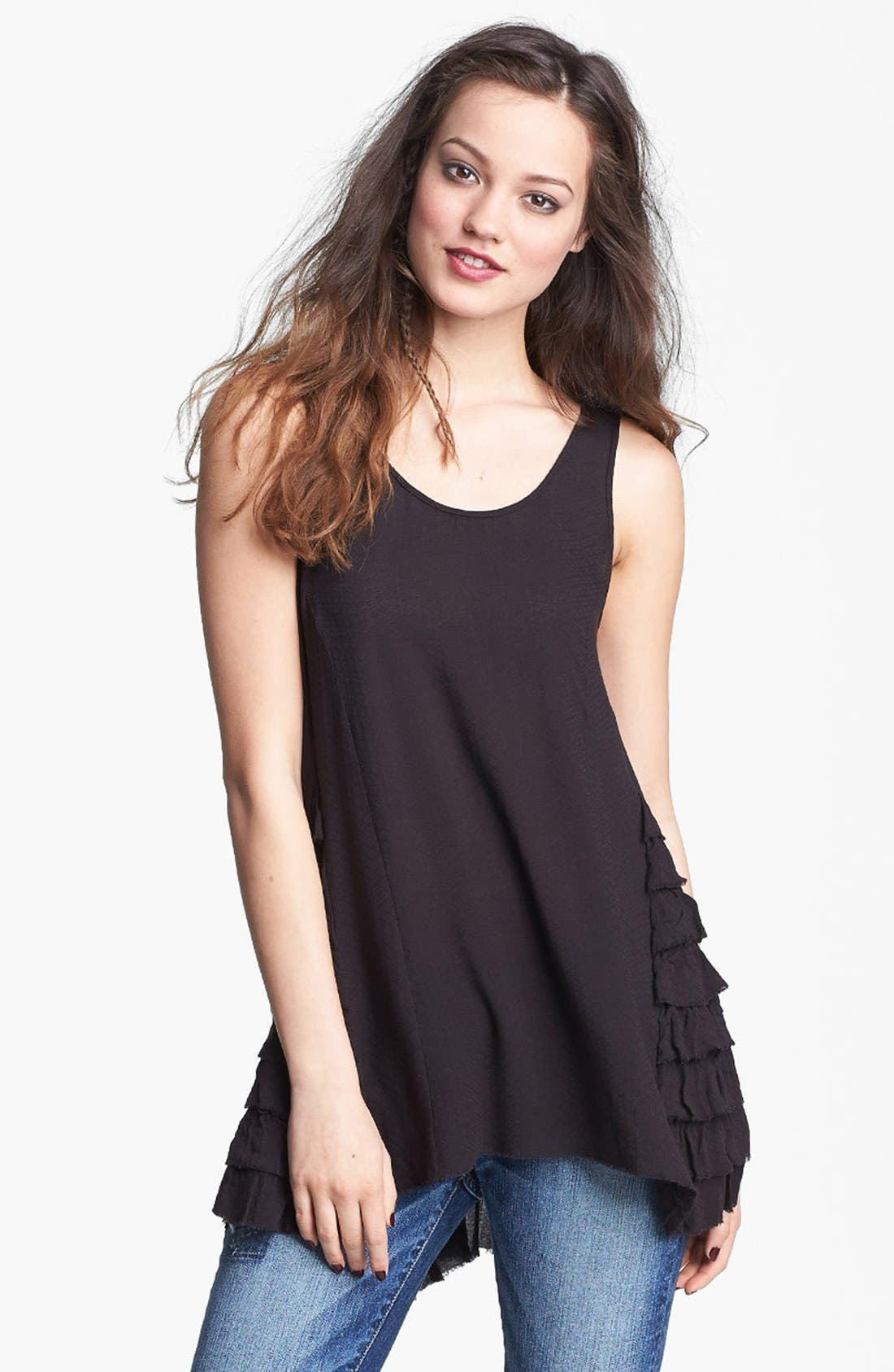 FREE PEOPLE Ruffled Woven Tank, Main, color, 001