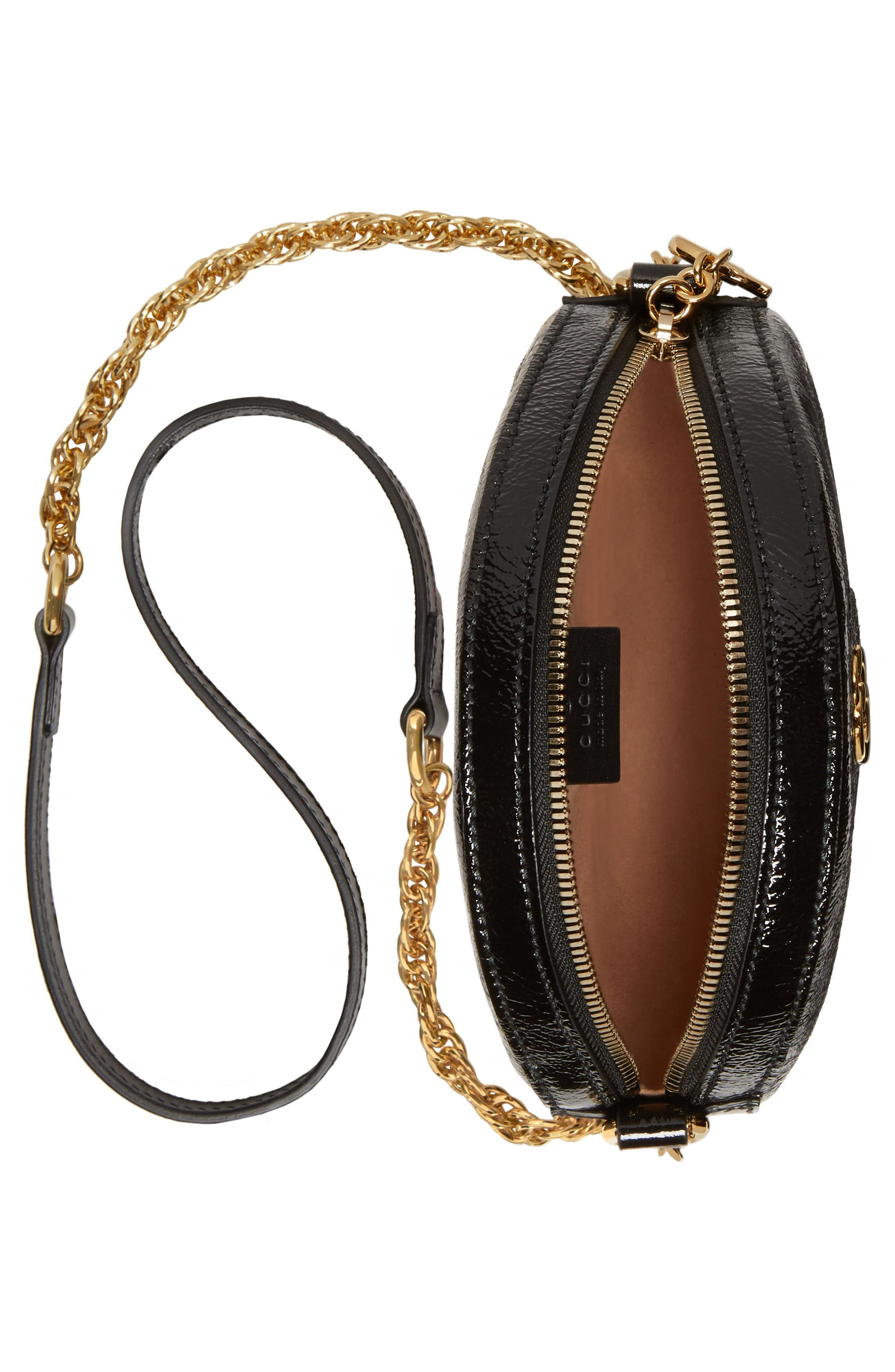 GUCCI,                             Mini Ophidia Round Shoulder Bag,                             Alternate thumbnail 3, color,                             HIBISCUS RED/ NERO/ BLUE