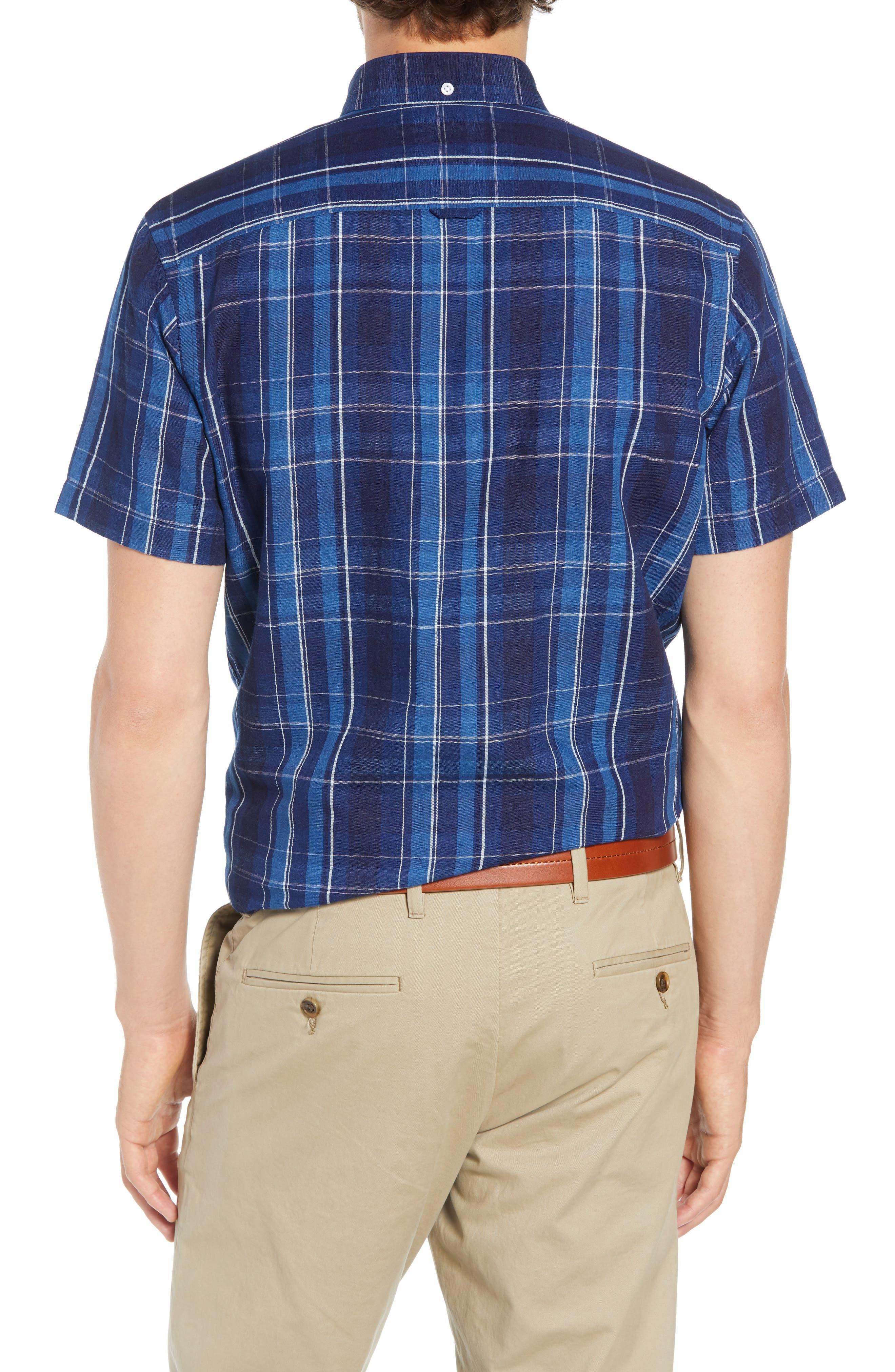 Ivy Trim Fit Plaid Cotton & Linen Sport Shirt,                             Alternate thumbnail 2, color,                             410