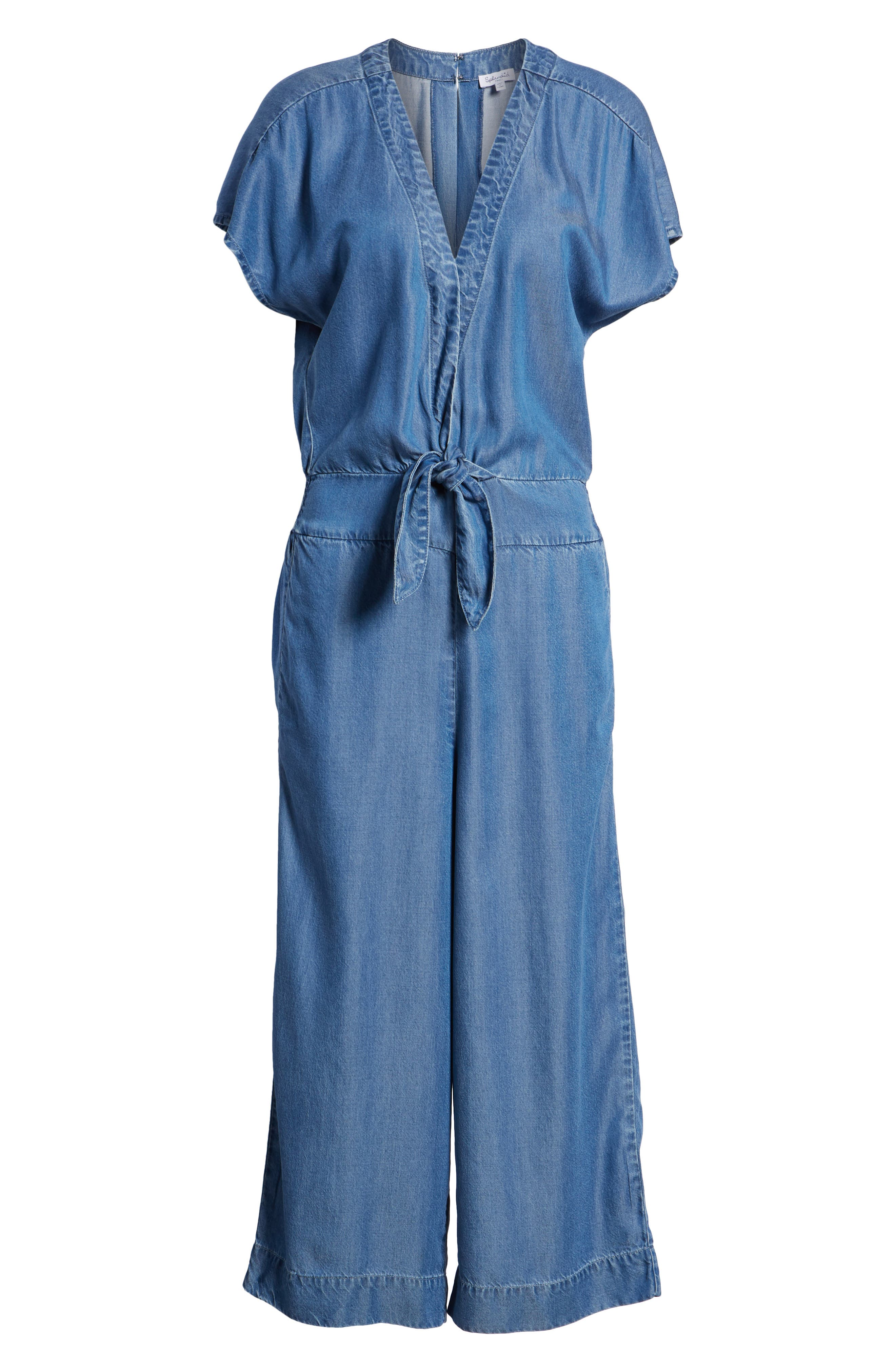 Desert Tie Waist Chambray Jumpsuit,                             Alternate thumbnail 7, color,                             MED WASH