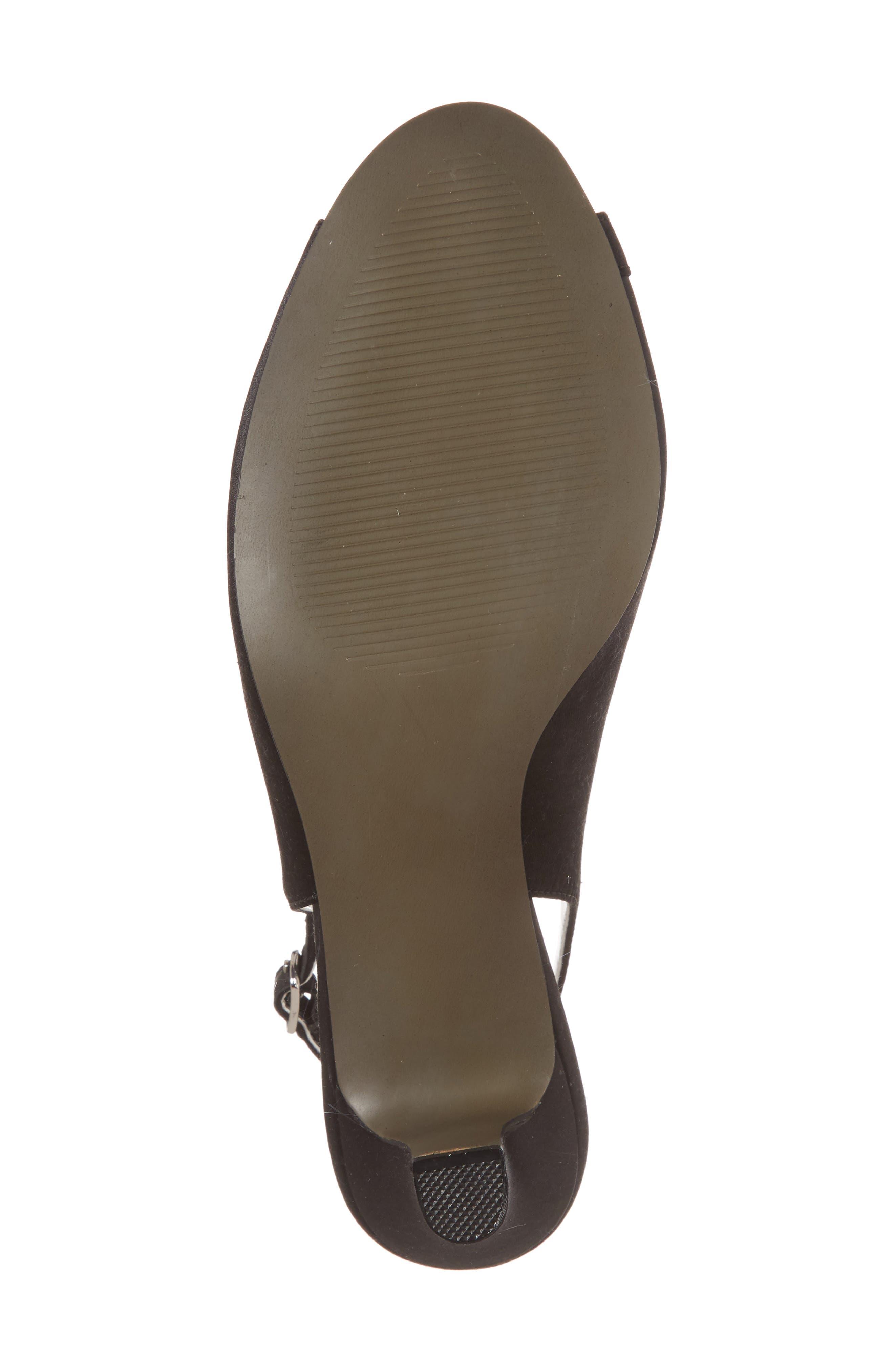 Dainty Slingback Sandal,                             Alternate thumbnail 6, color,                             BLACK SATIN