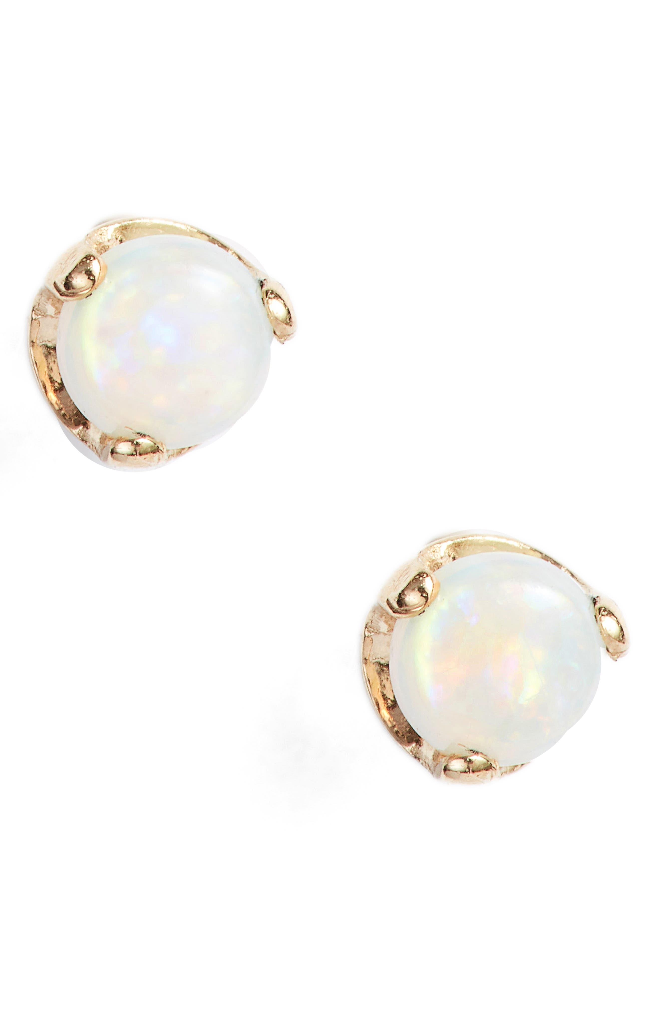 Opal Stud Earrings,                             Main thumbnail 1, color,                             YELLOW GOLD/ OPAL