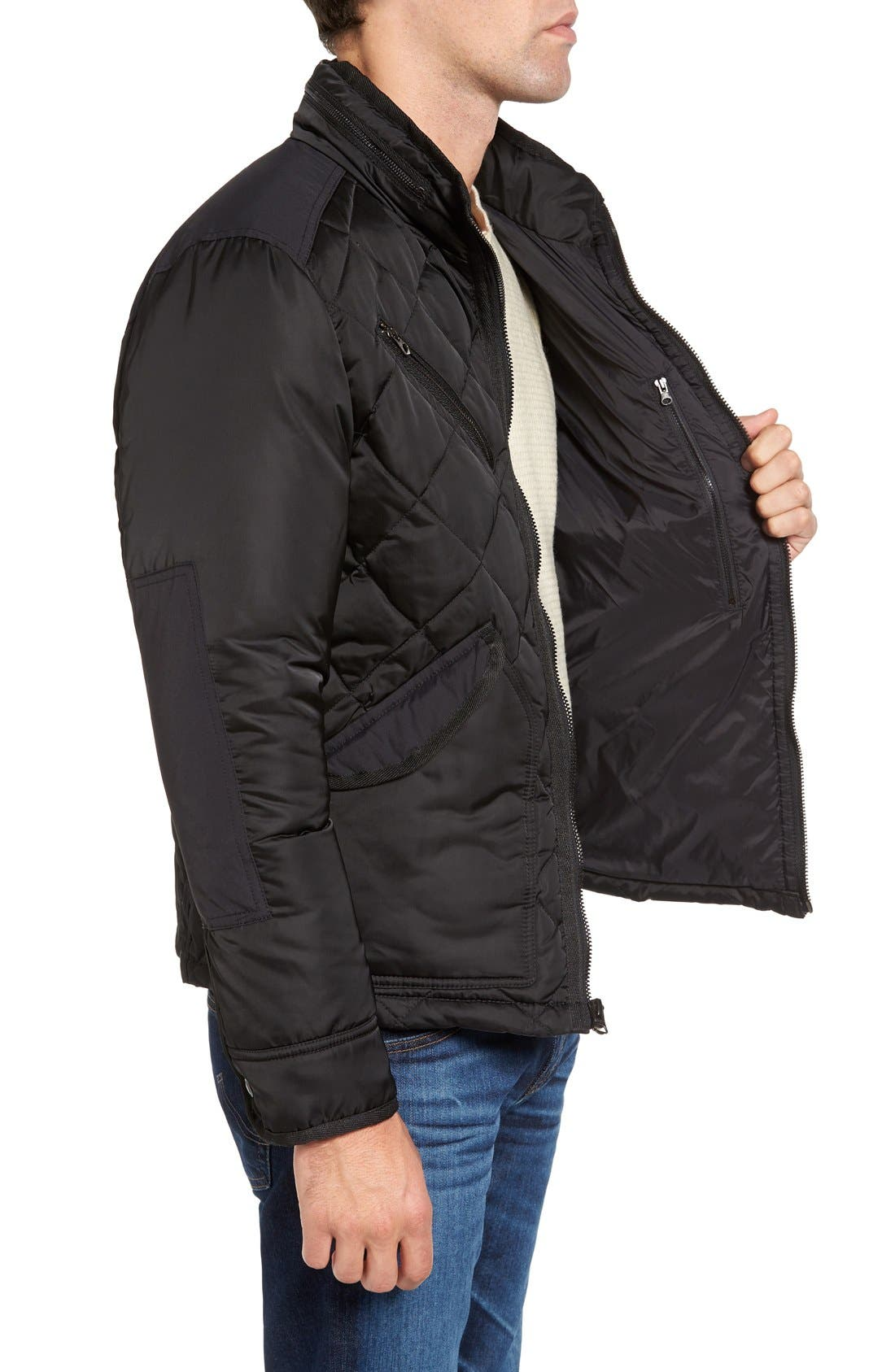 Café Racer Quilted Down Hooded Jacket,                             Alternate thumbnail 2, color,                             001