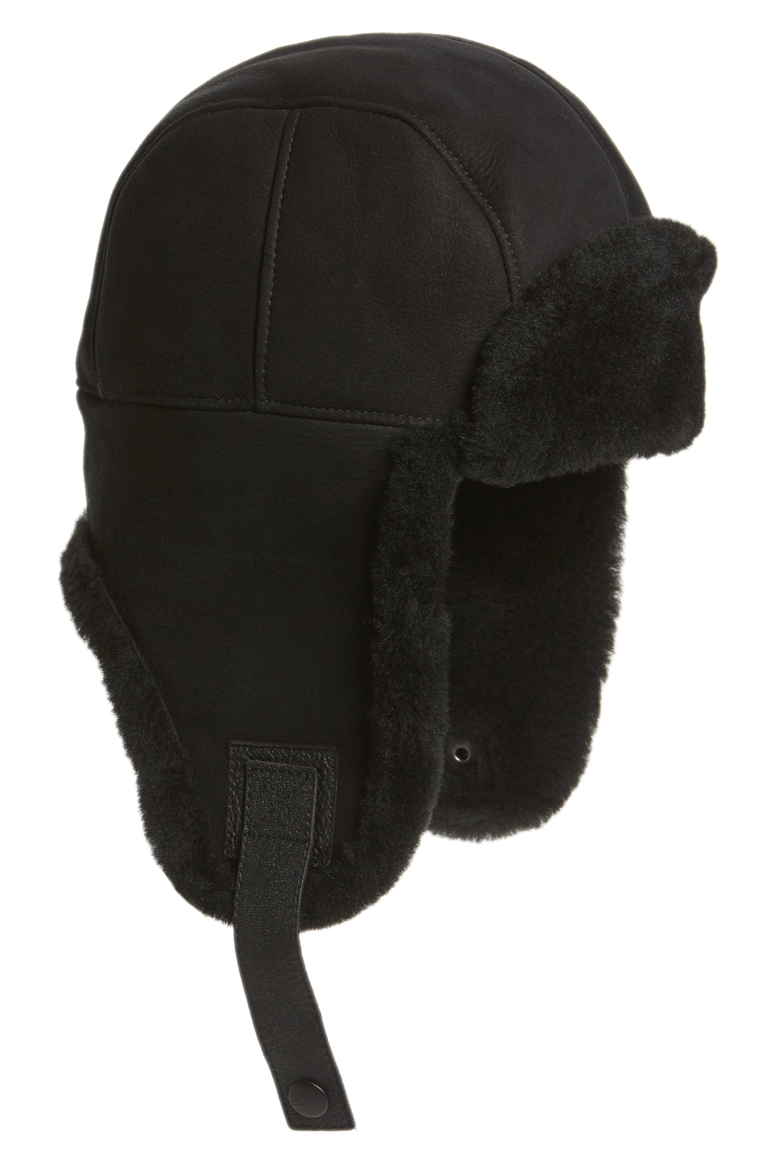 UGG Genuine Shearling Trapper Hat,                         Main,                         color, 001