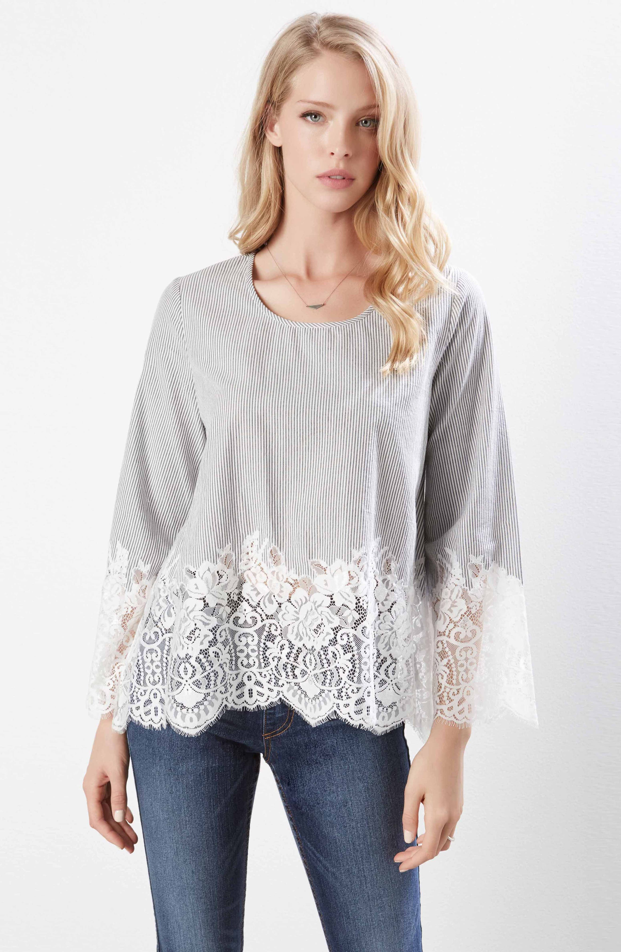 Lace Border Pinstripe Top,                             Alternate thumbnail 4, color,                             489