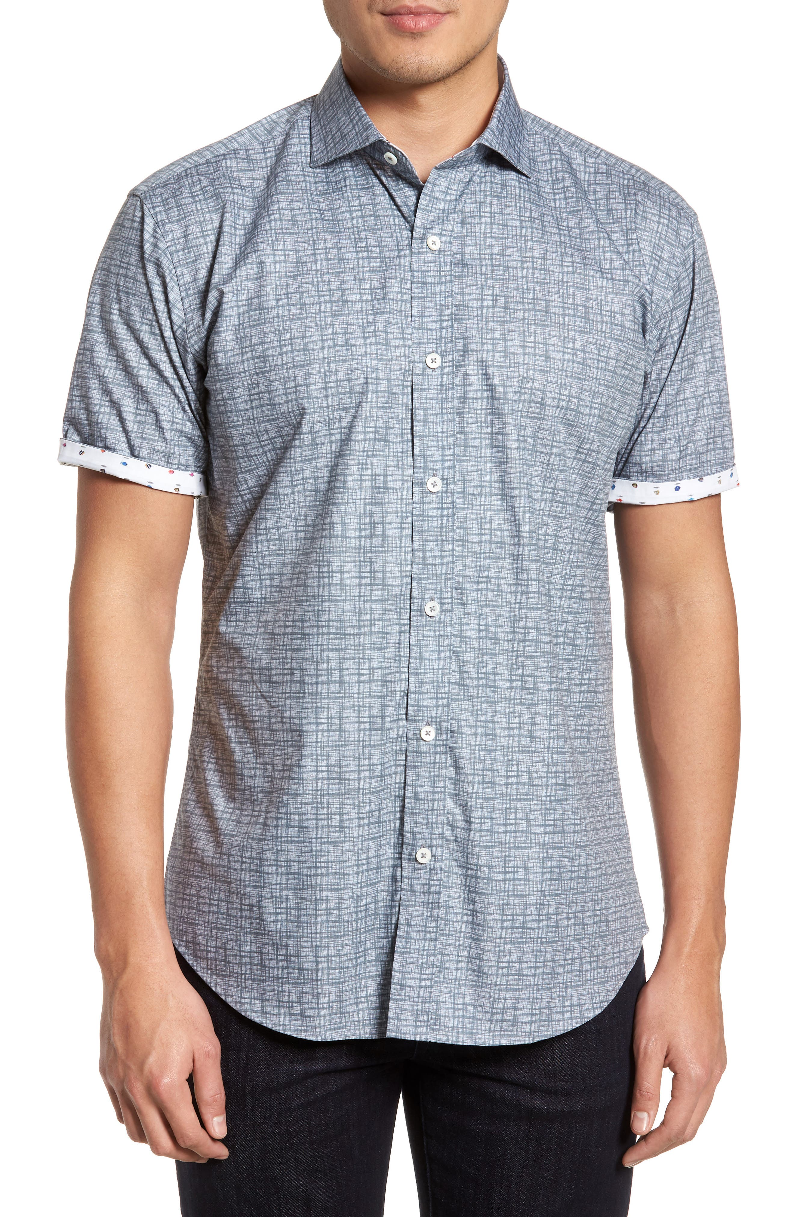 men's bugatchi freehand shaped fit sport shirt, size small - grey