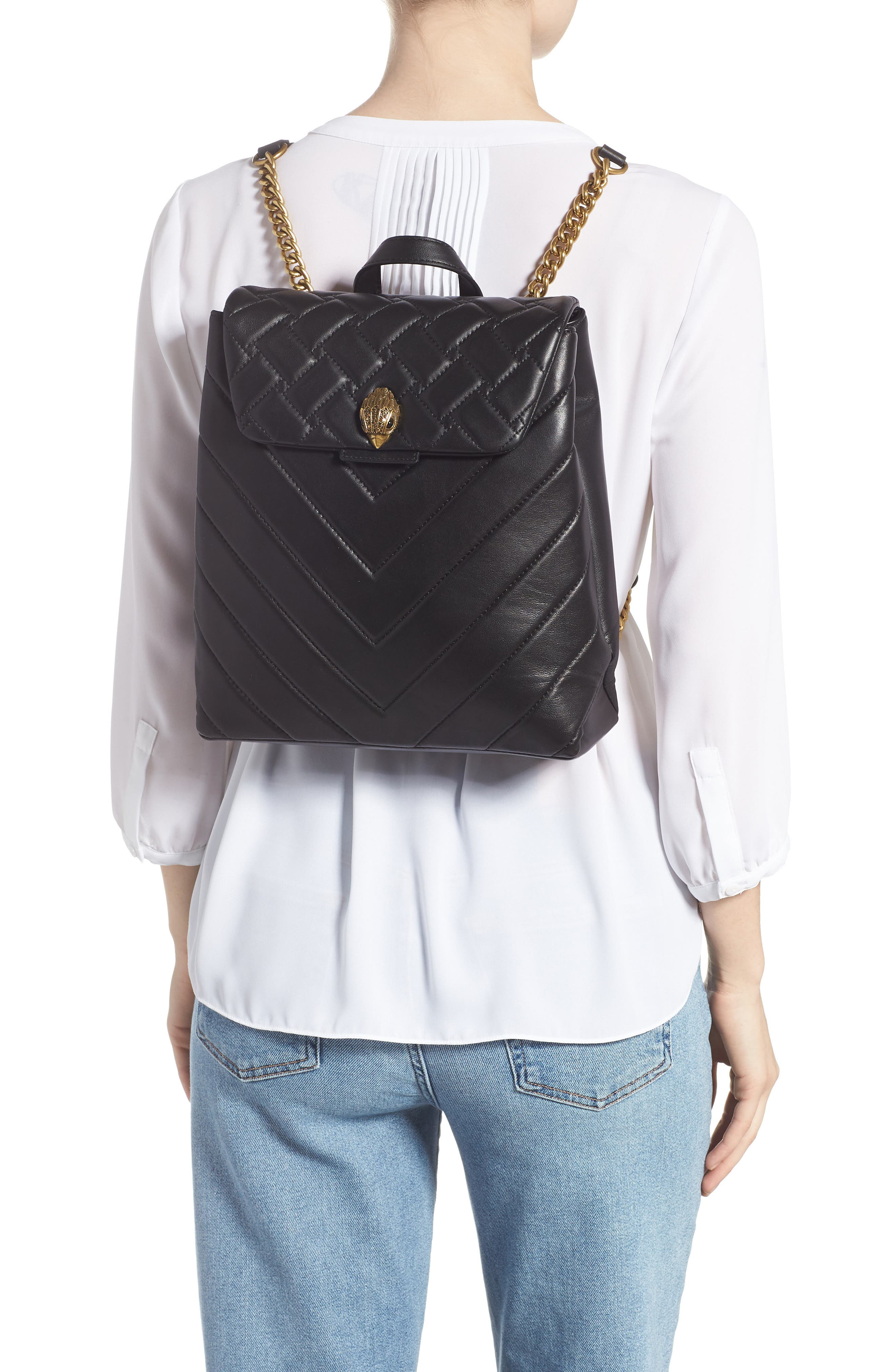 Kensington Quilted Leather Backpack - Black