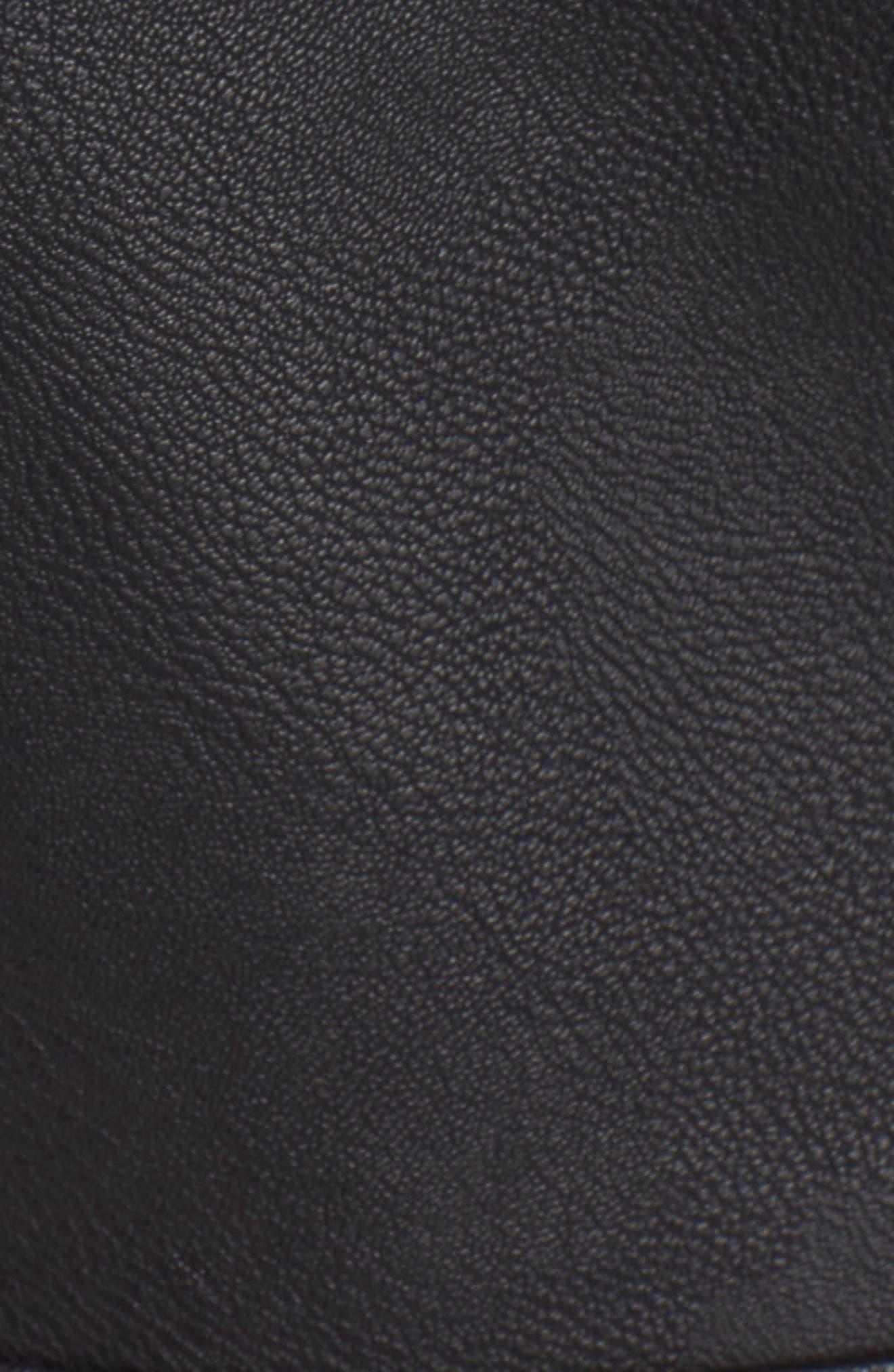 Faux Leather Hooded Biker Vest,                             Alternate thumbnail 6, color,                             010