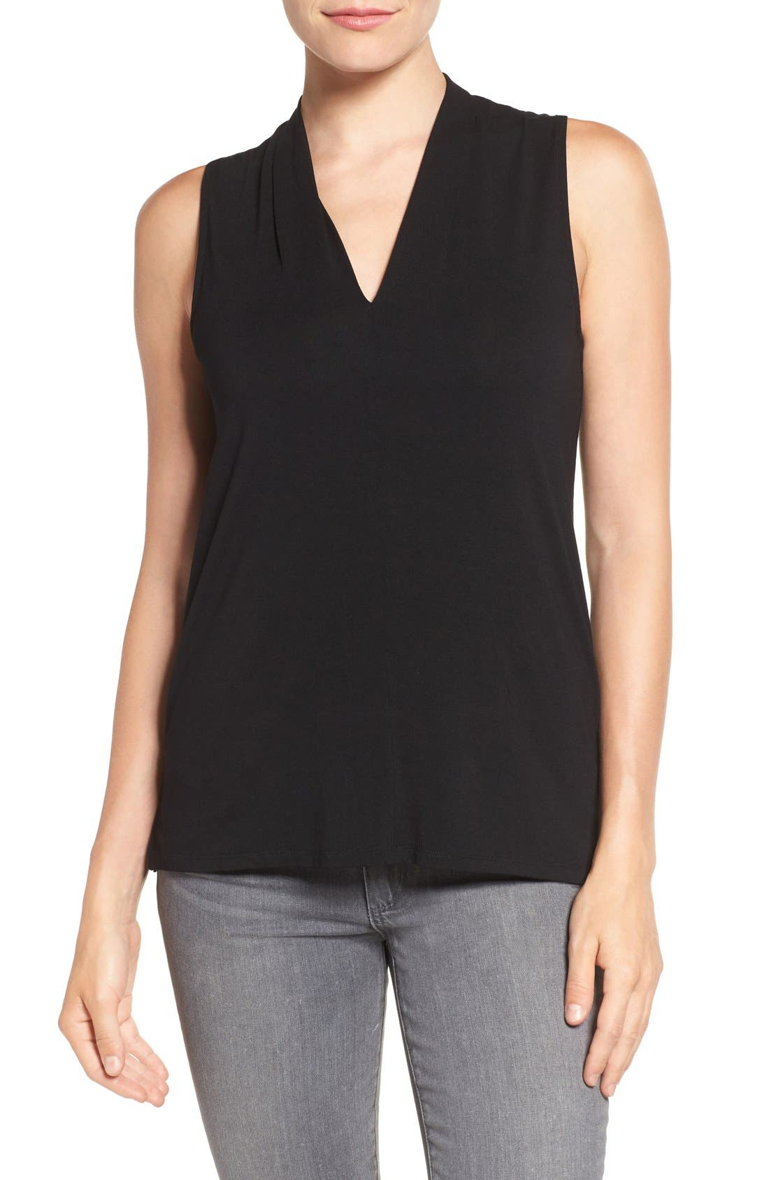 Sleeveless V-Neck Top,                             Main thumbnail 1, color,                             RICH BLACK