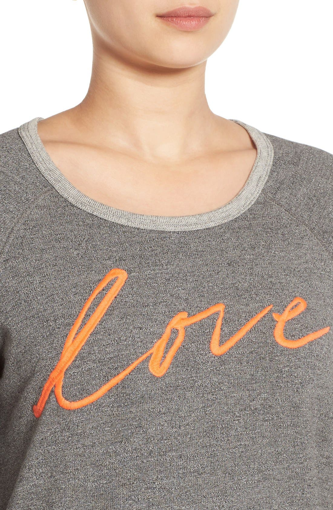 'Love' Pullover Sweatshirt,                             Alternate thumbnail 3, color,                             039