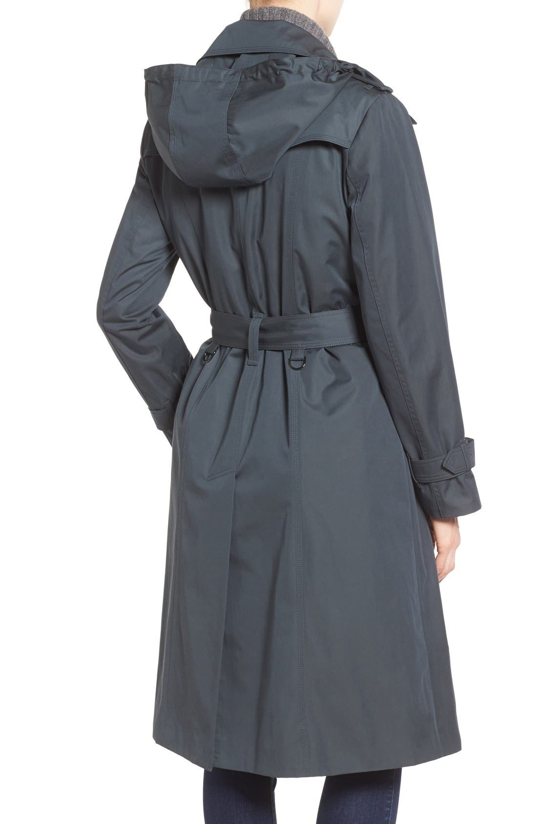 Double Breasted Trench Coat,                             Alternate thumbnail 2, color,                             SLATE
