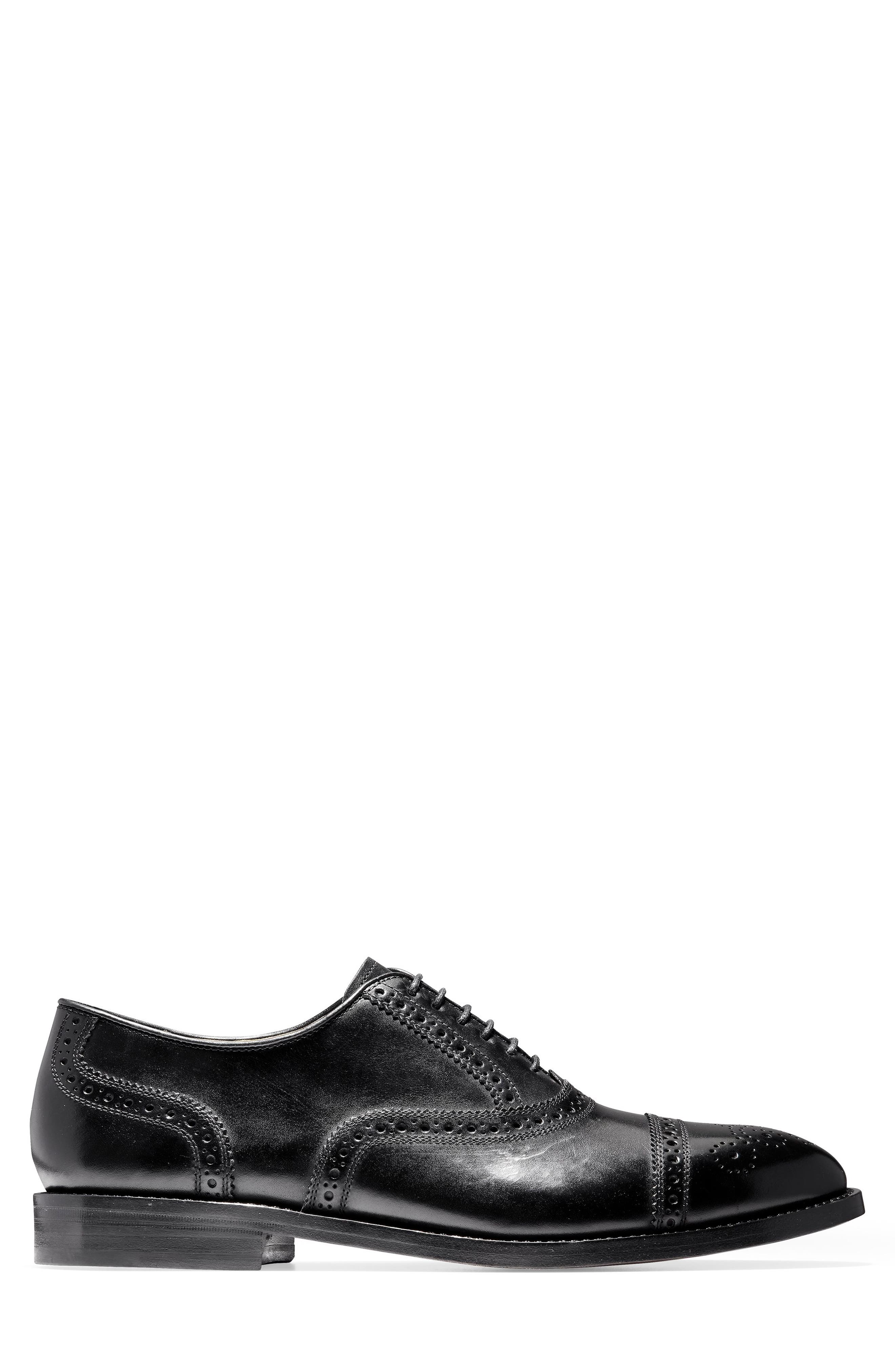 American Classics Kneeland Cap Toe Oxford,                             Alternate thumbnail 3, color,                             BLACK LEATHER