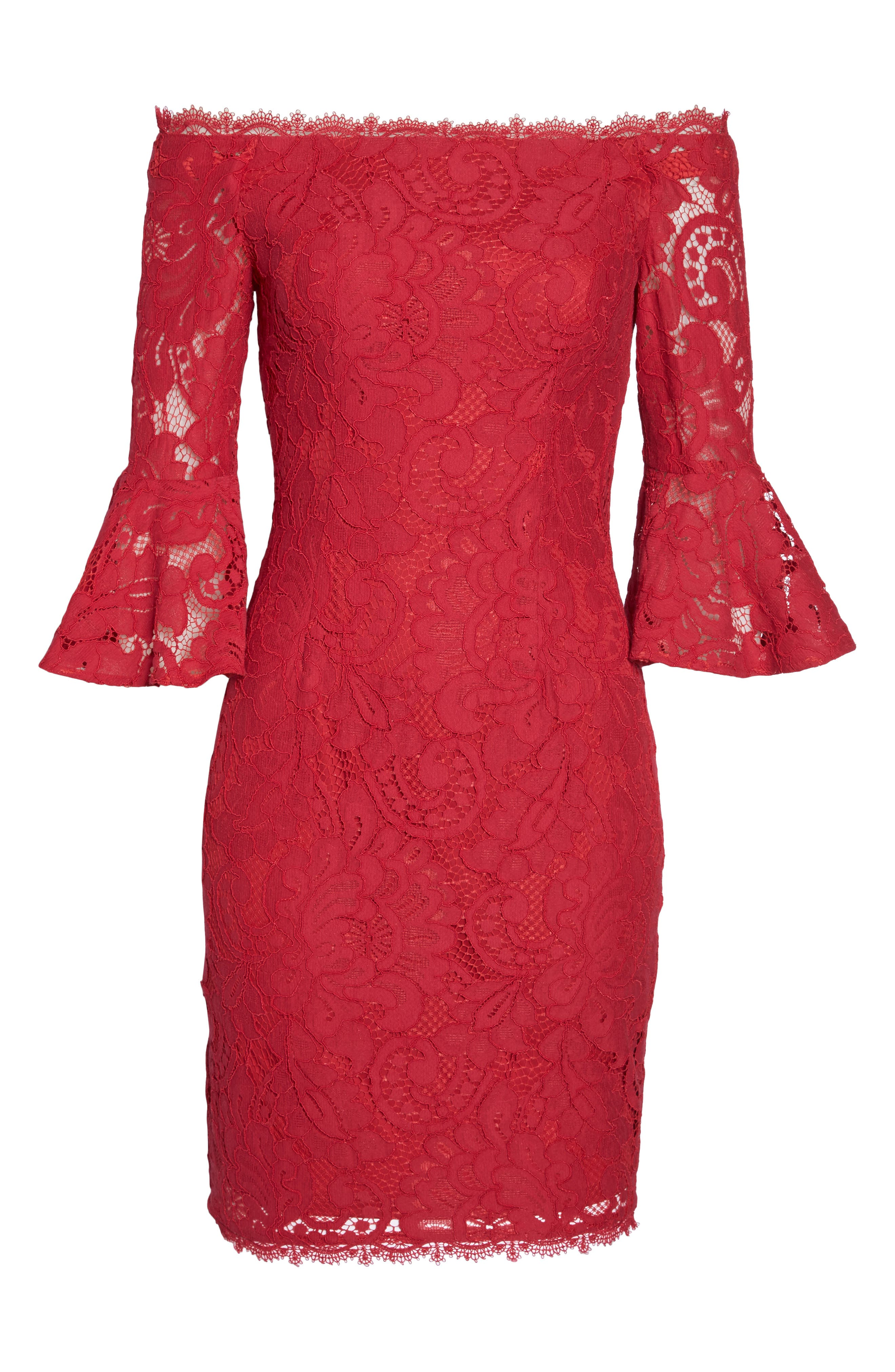 Off the Shoulder Lace Sheath Dress,                             Alternate thumbnail 13, color,