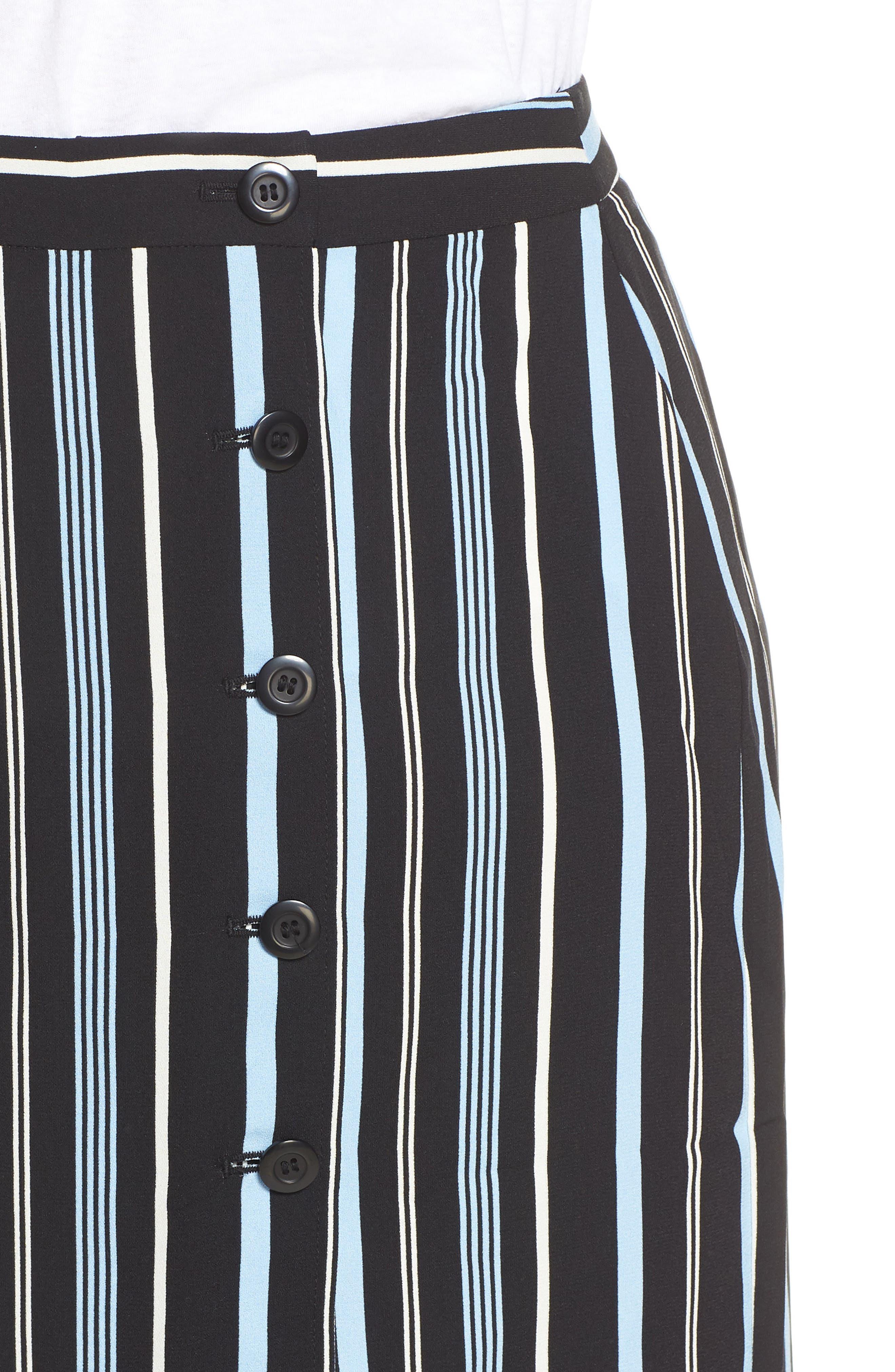 Button Wrap Skirt,                             Alternate thumbnail 10, color,                             BLACK MULTI COLORED STRIPE