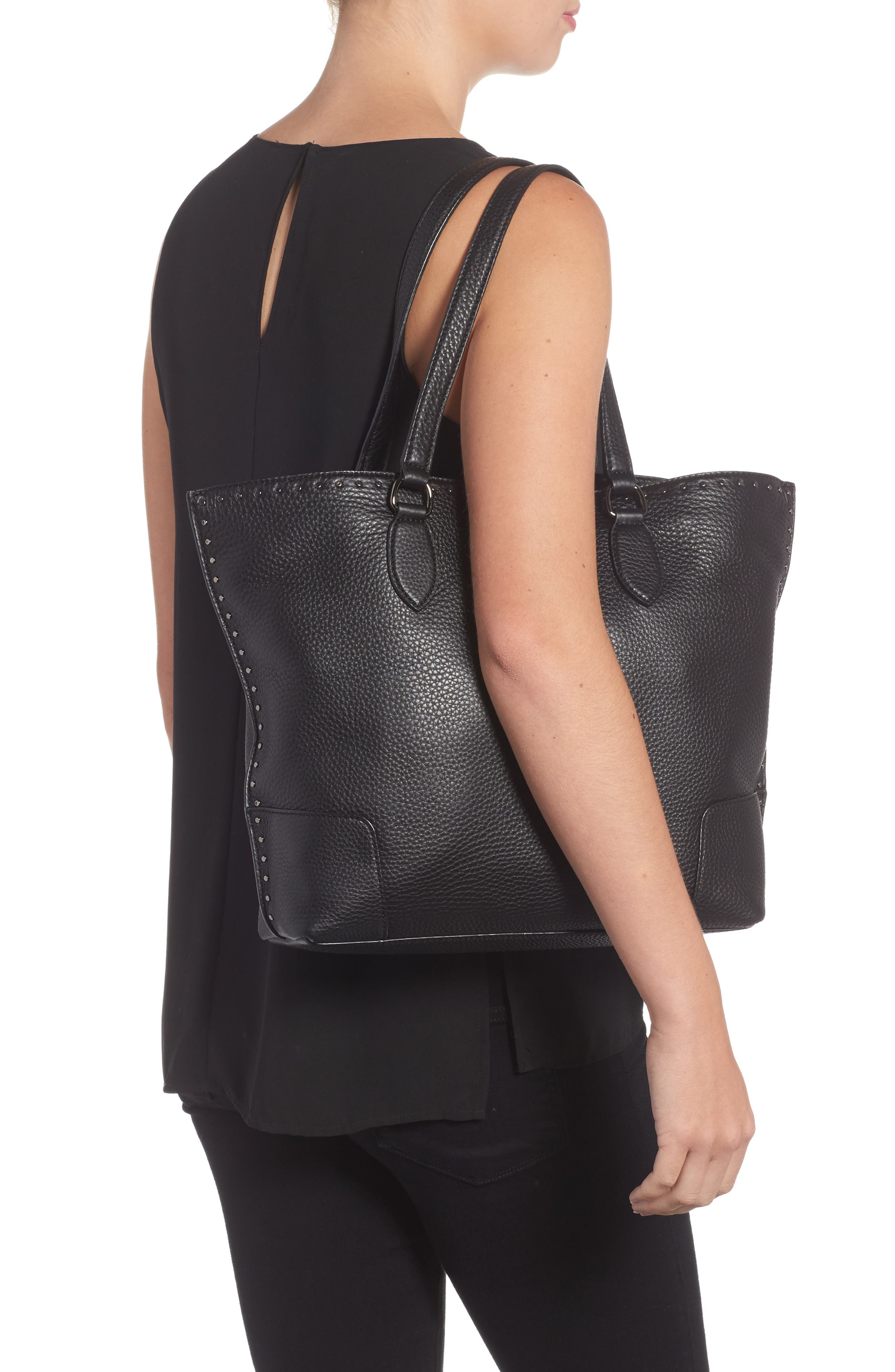 Moonwalking Leather Tote,                             Alternate thumbnail 2, color,                             001