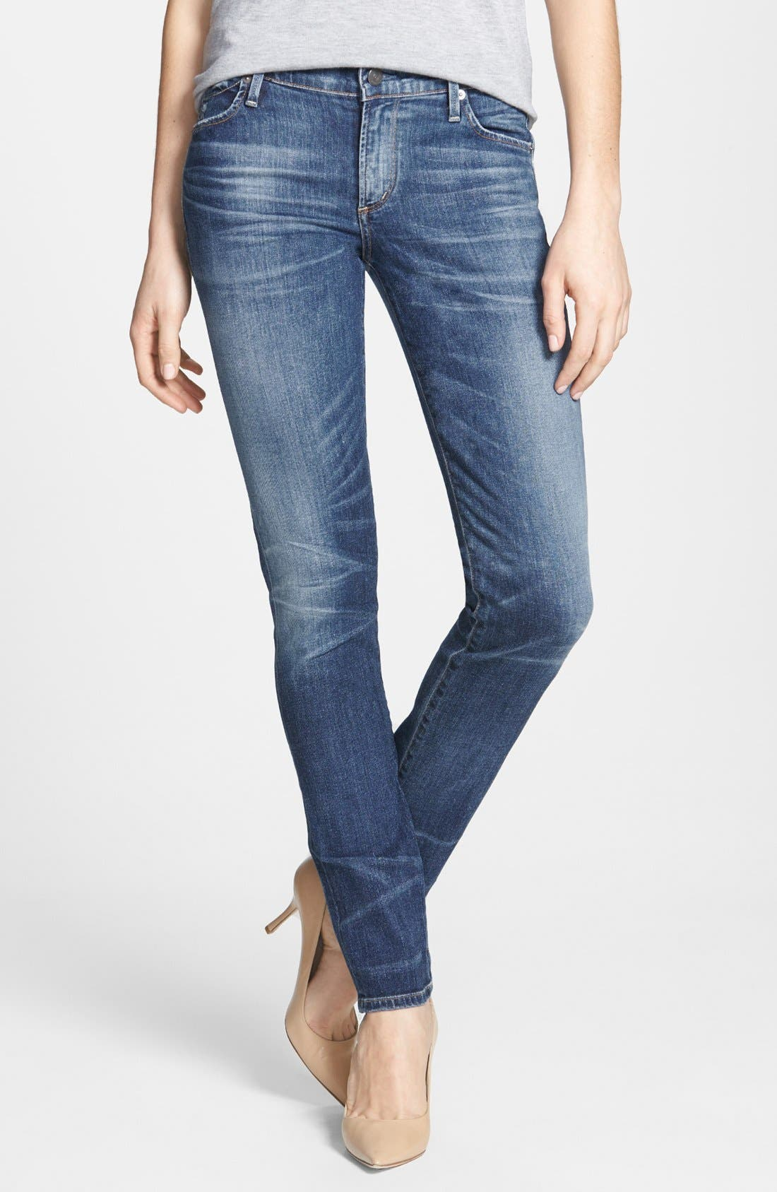 Whiskered Skinny Jeans,                             Main thumbnail 1, color,                             424