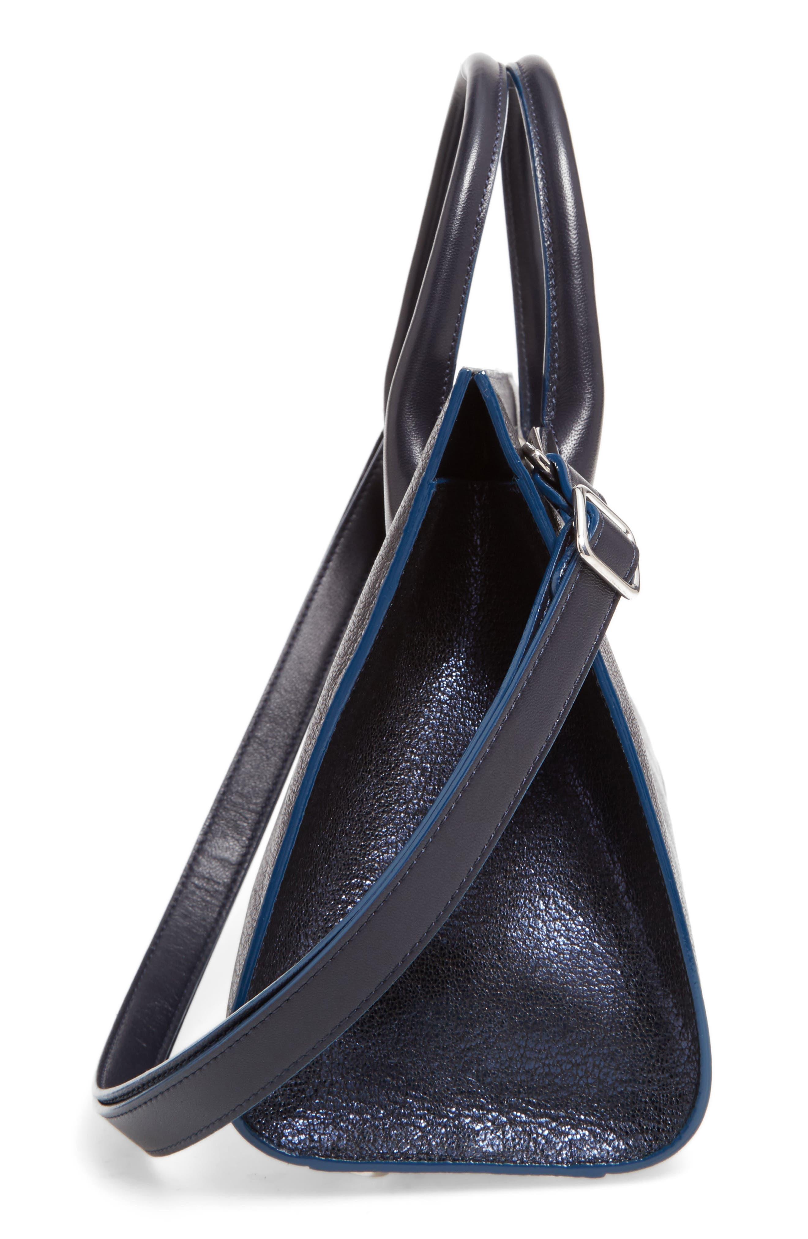 Medium Riley Metallic Leather Tote,                             Alternate thumbnail 5, color,                             400