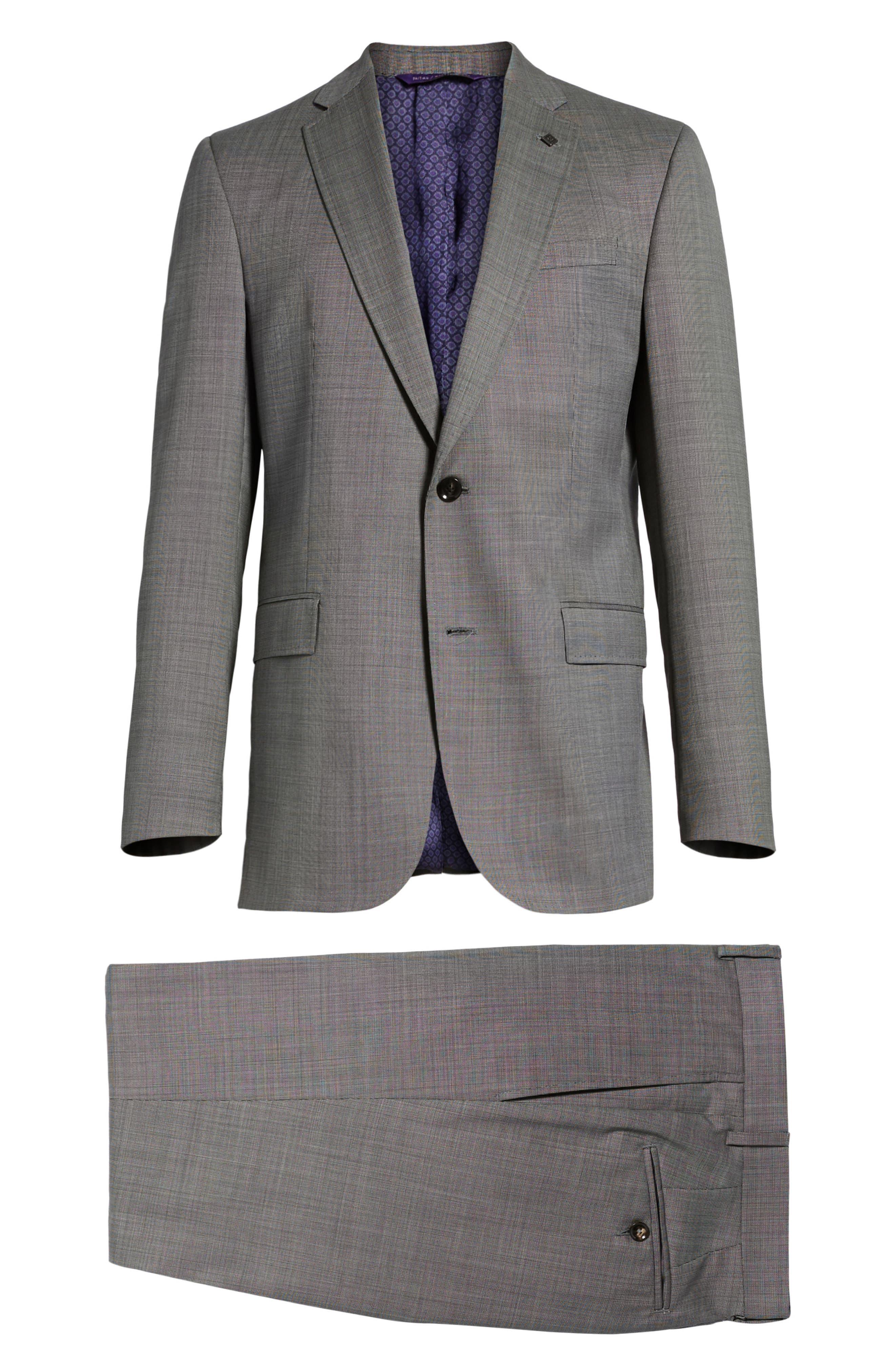 Jay Trim Fit Solid Wool Suit,                             Alternate thumbnail 13, color,                             LIGHT GREY