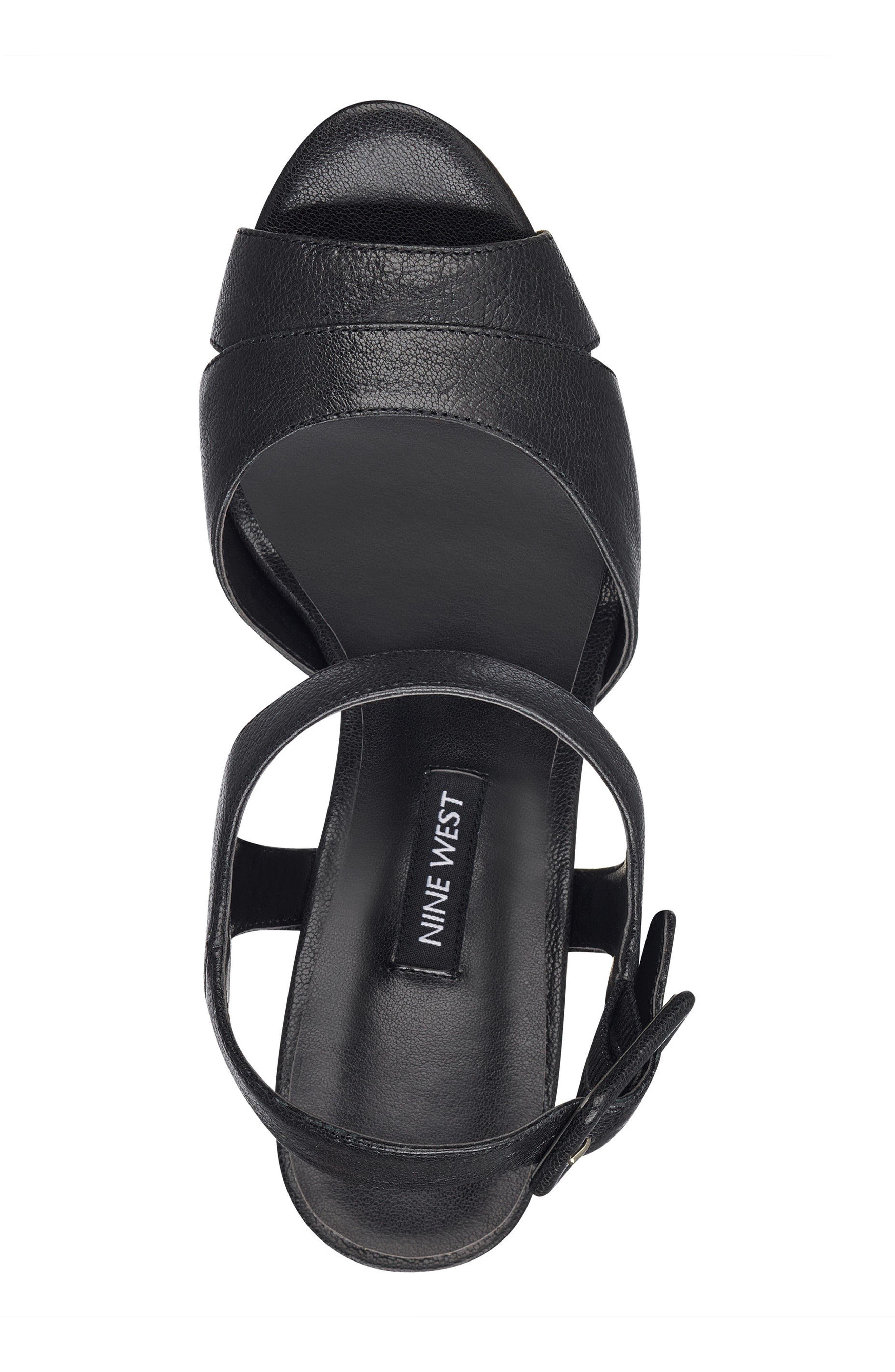 NINE WEST,                             Ibyn Platform Sandal,                             Alternate thumbnail 5, color,                             002