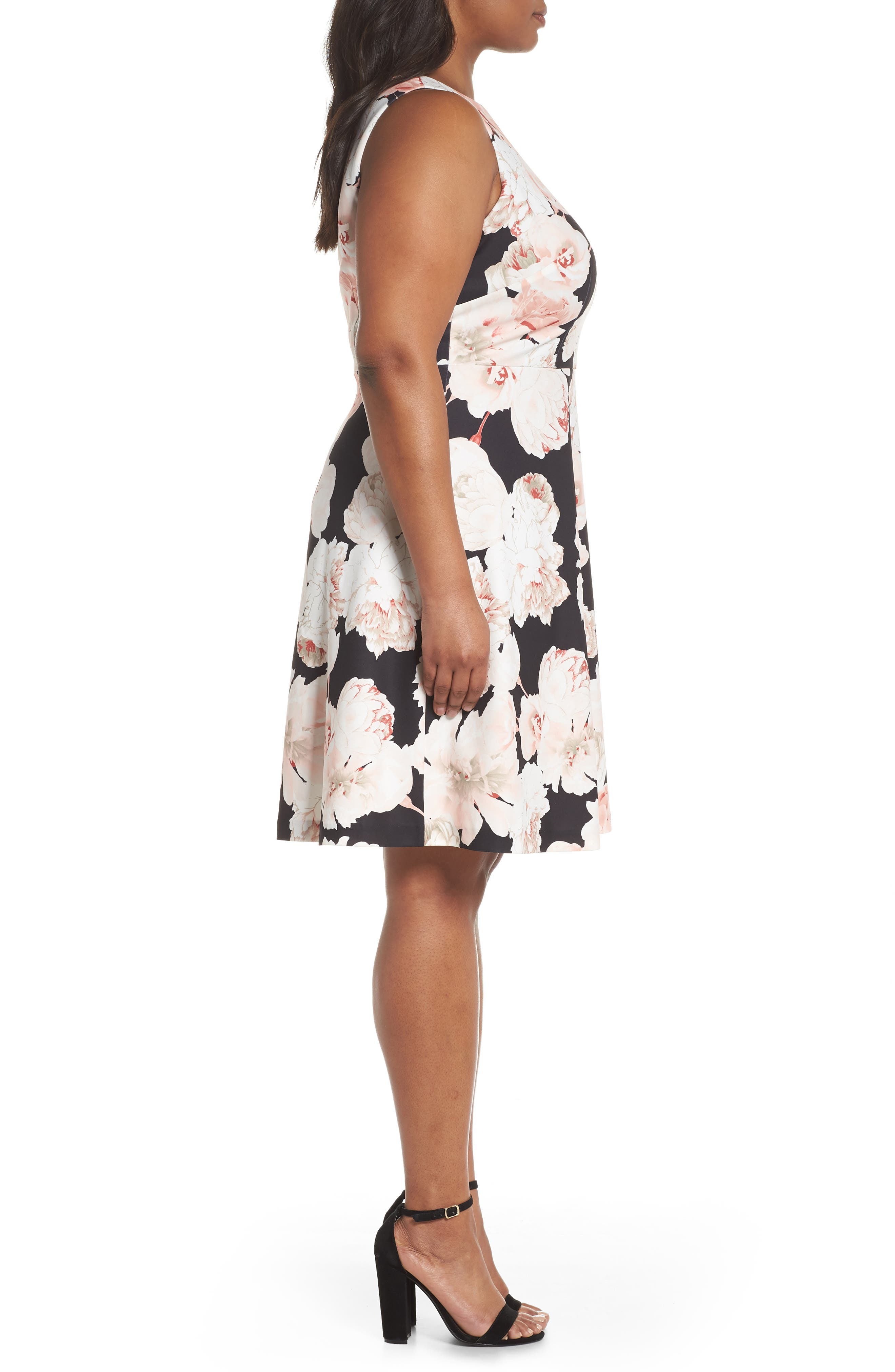Floral A-Line Dress,                             Alternate thumbnail 3, color,                             002