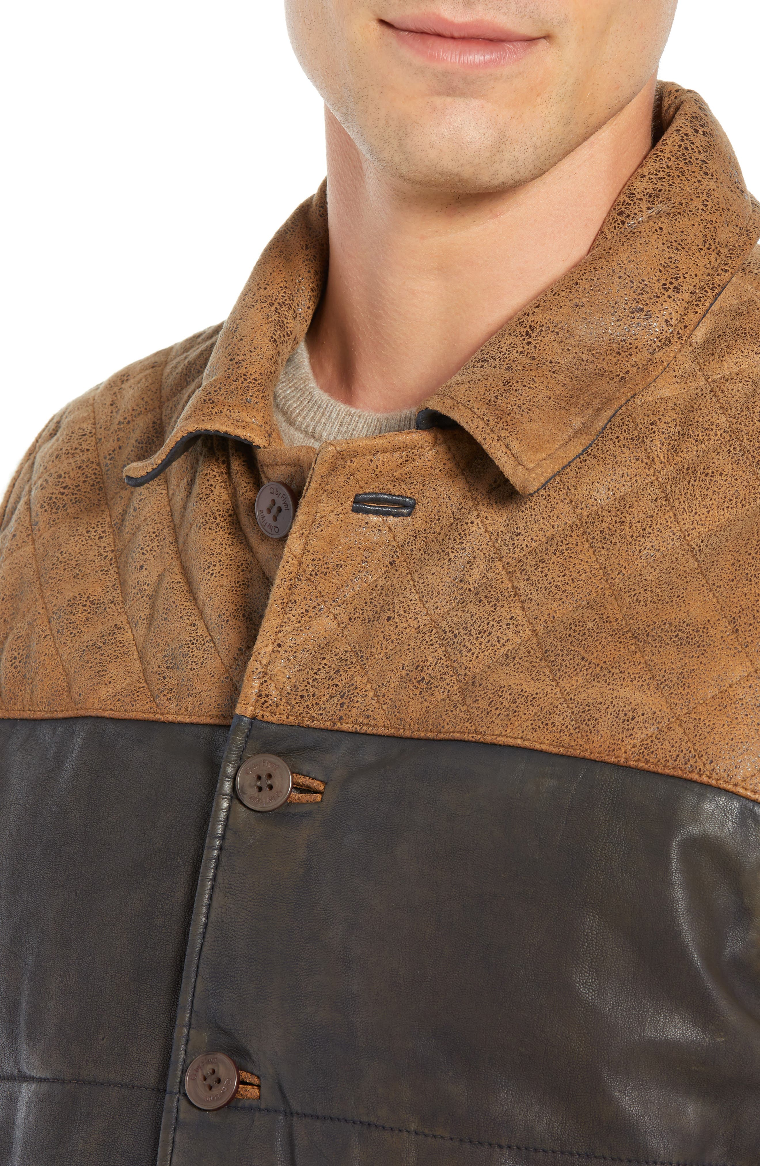Colorblock Quilted Leather Vest,                             Alternate thumbnail 4, color,                             TAN
