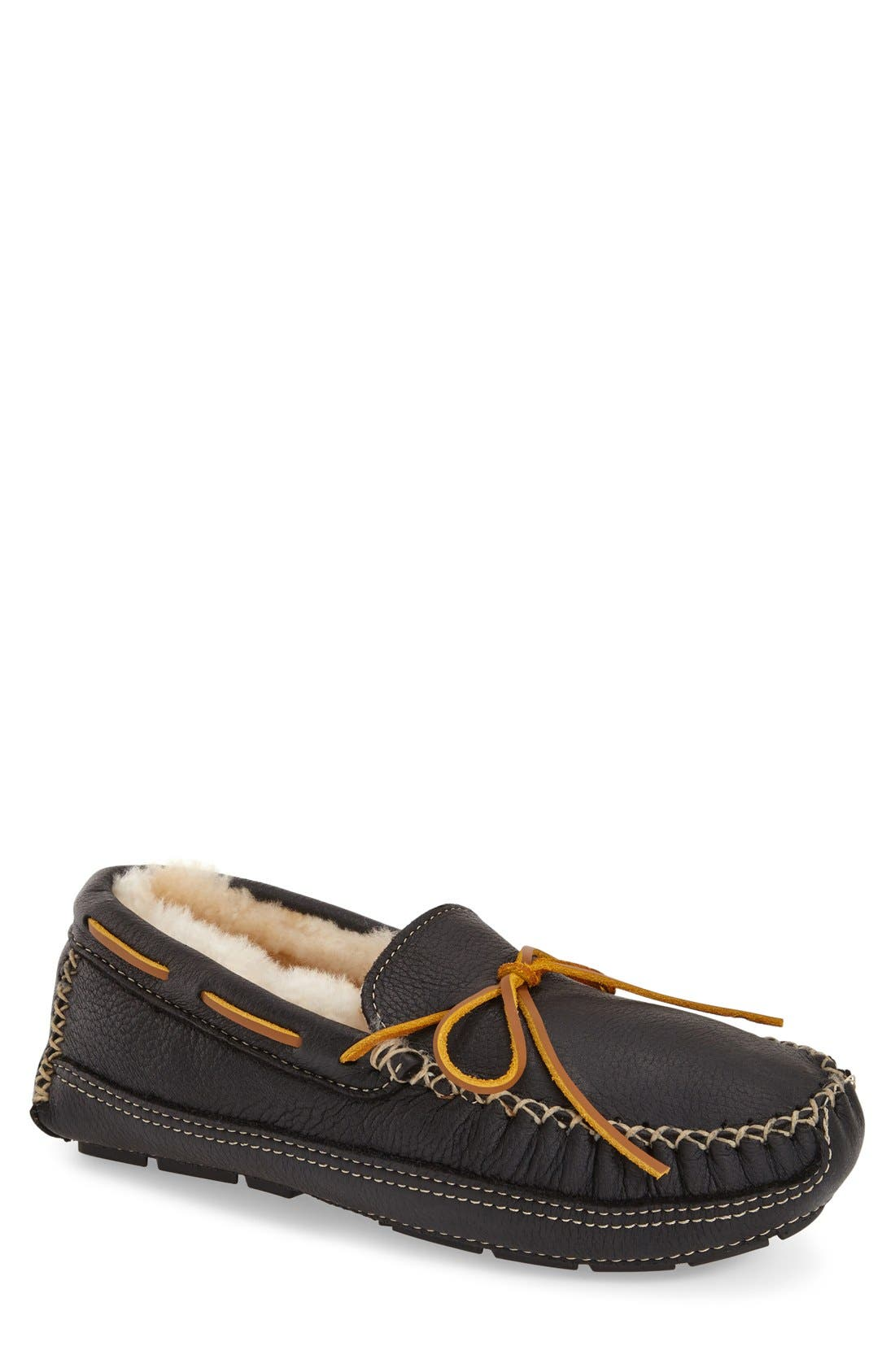 Genuine Shearling Leather Slipper,                             Main thumbnail 1, color,                             BLACK