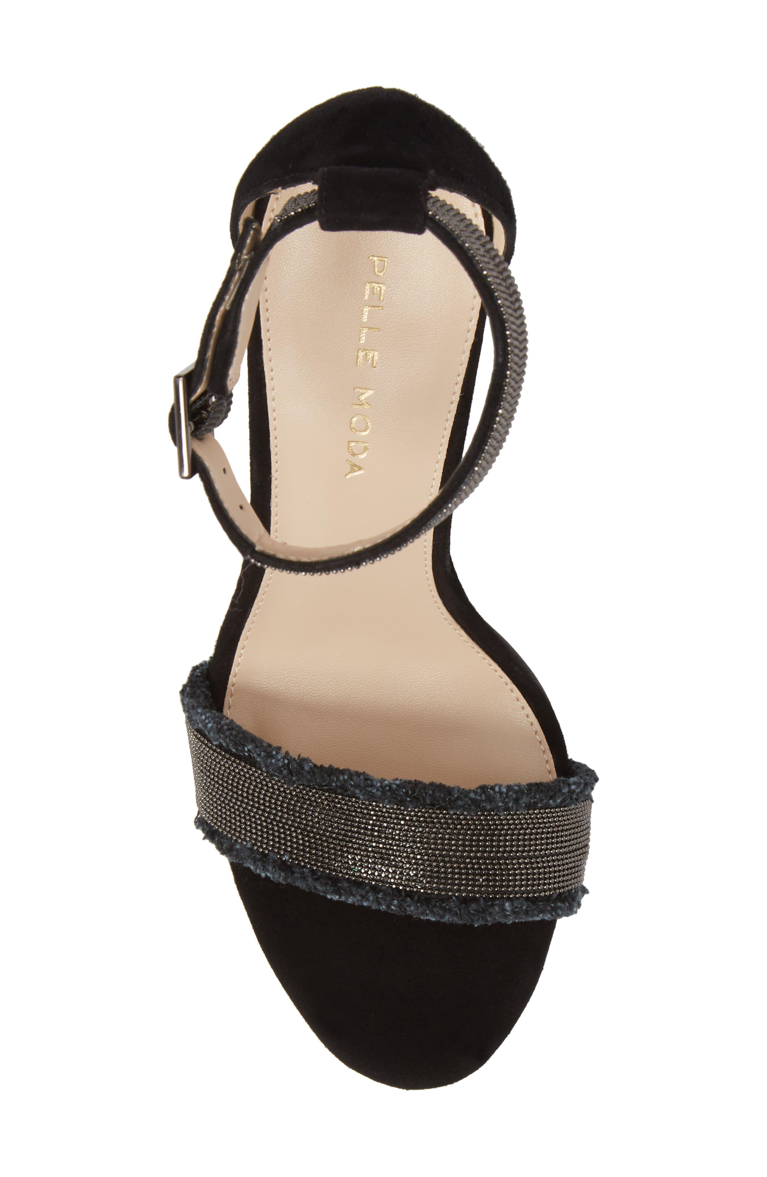 PELLE MODA,                             Bonnie6 Embellished Sandal,                             Alternate thumbnail 5, color,                             BLACK SUEDE