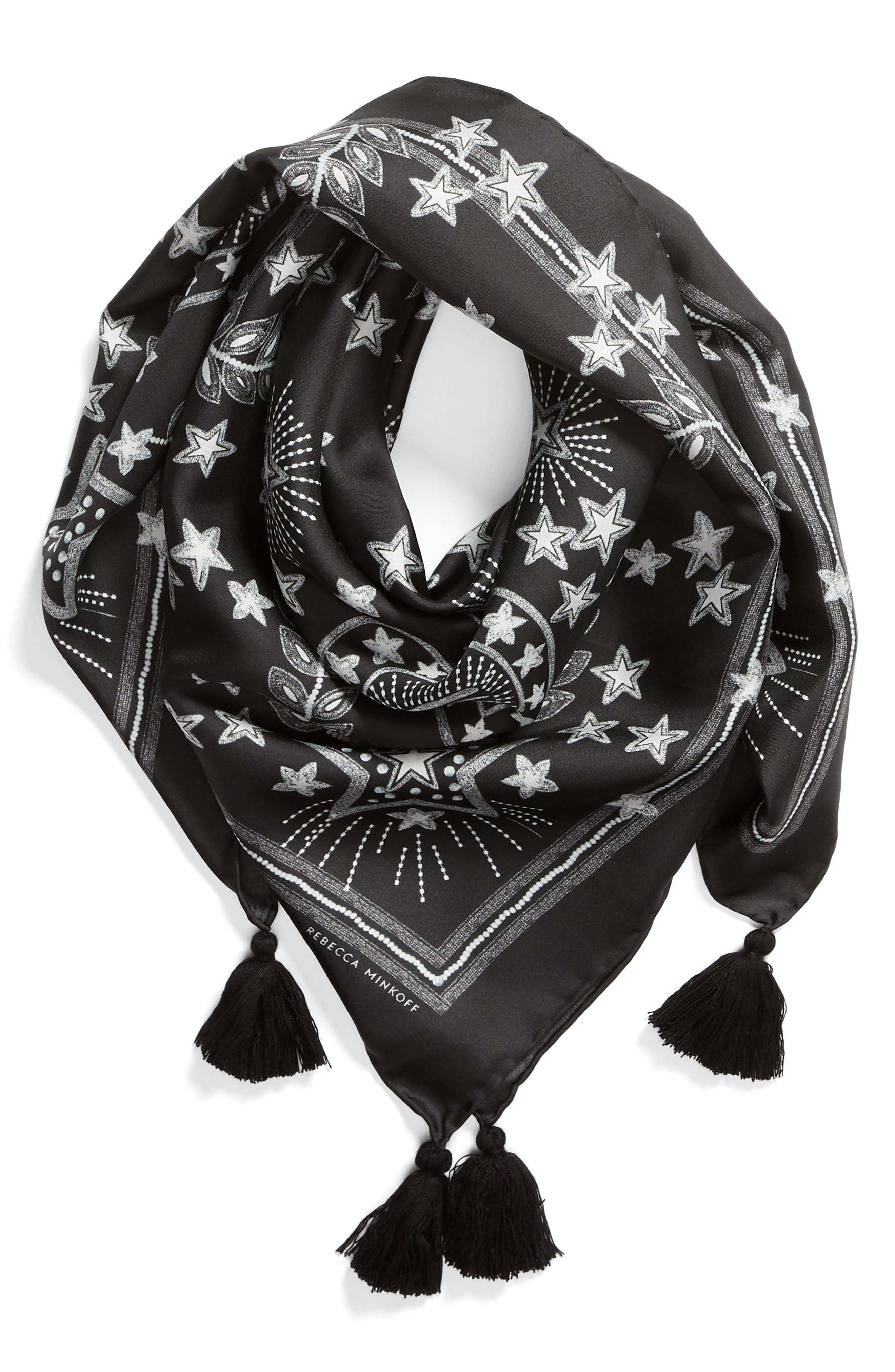Celestial Silk Scarf,                             Alternate thumbnail 2, color,                             BLACK