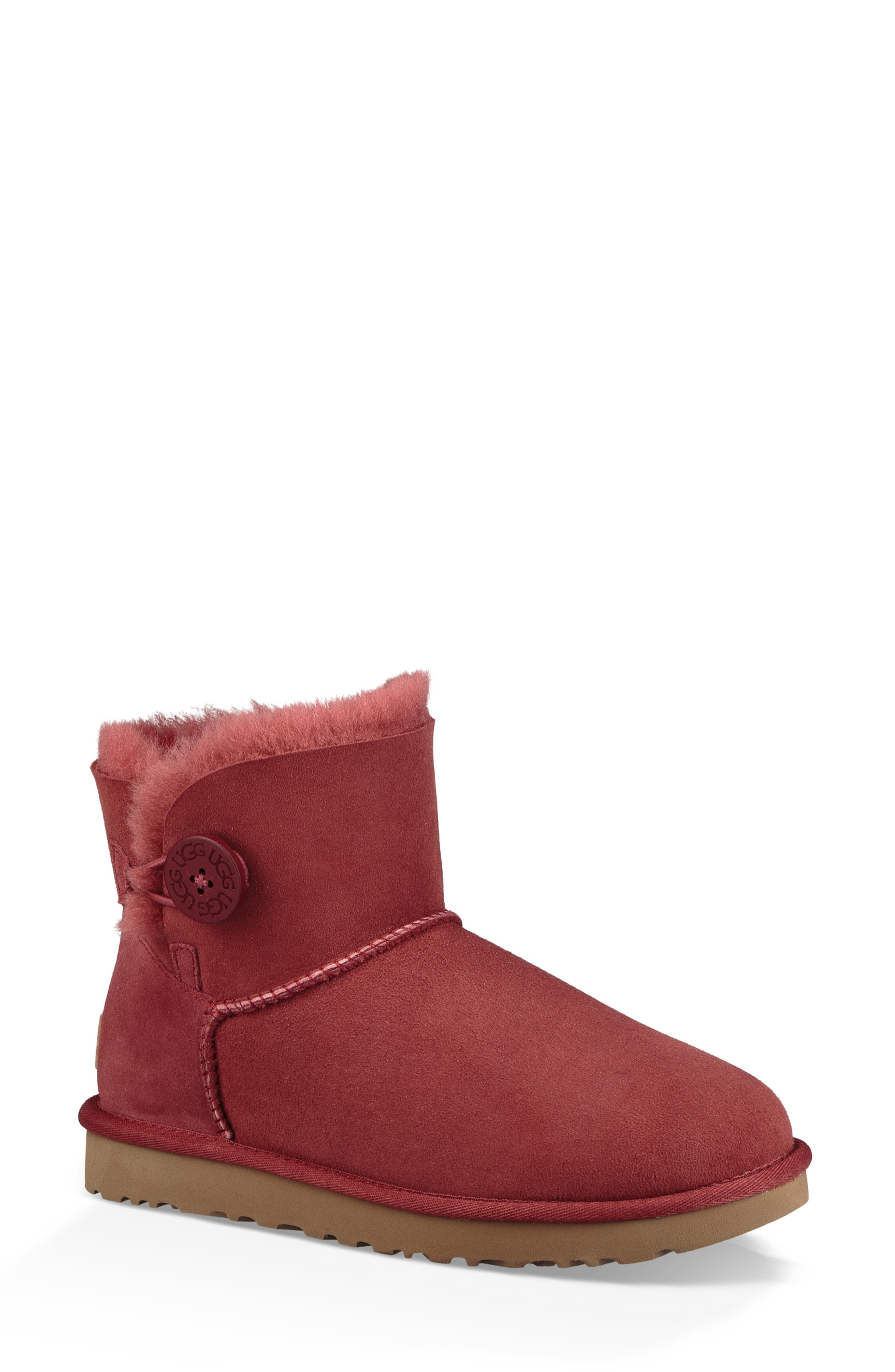 'Mini Bailey Button II' Boot,                             Main thumbnail 1, color,                             REDWOOD SUEDE