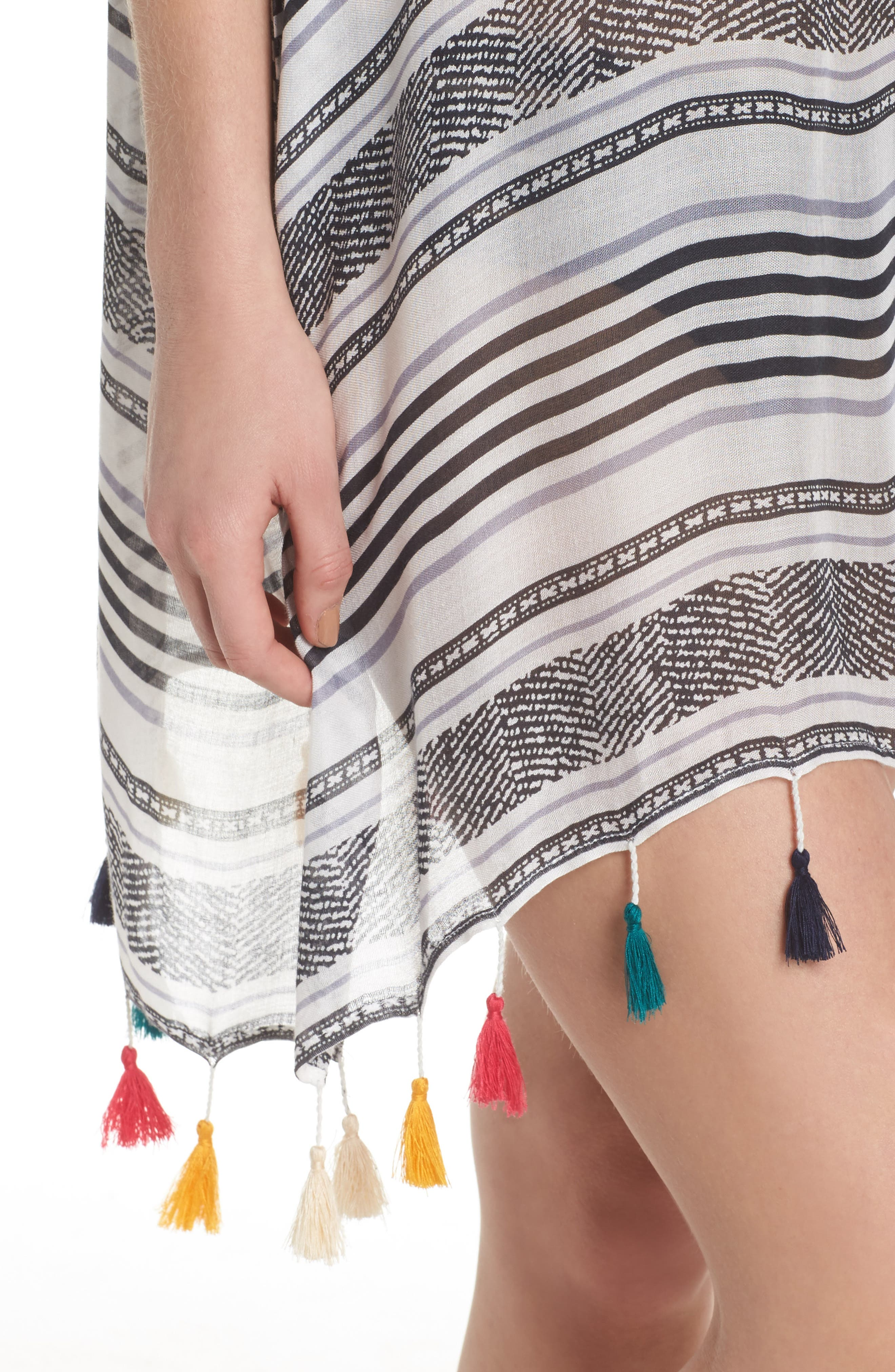 SURF GYPSY,                             Stripe Tassel Cover-Up Tunic,                             Alternate thumbnail 4, color,                             020