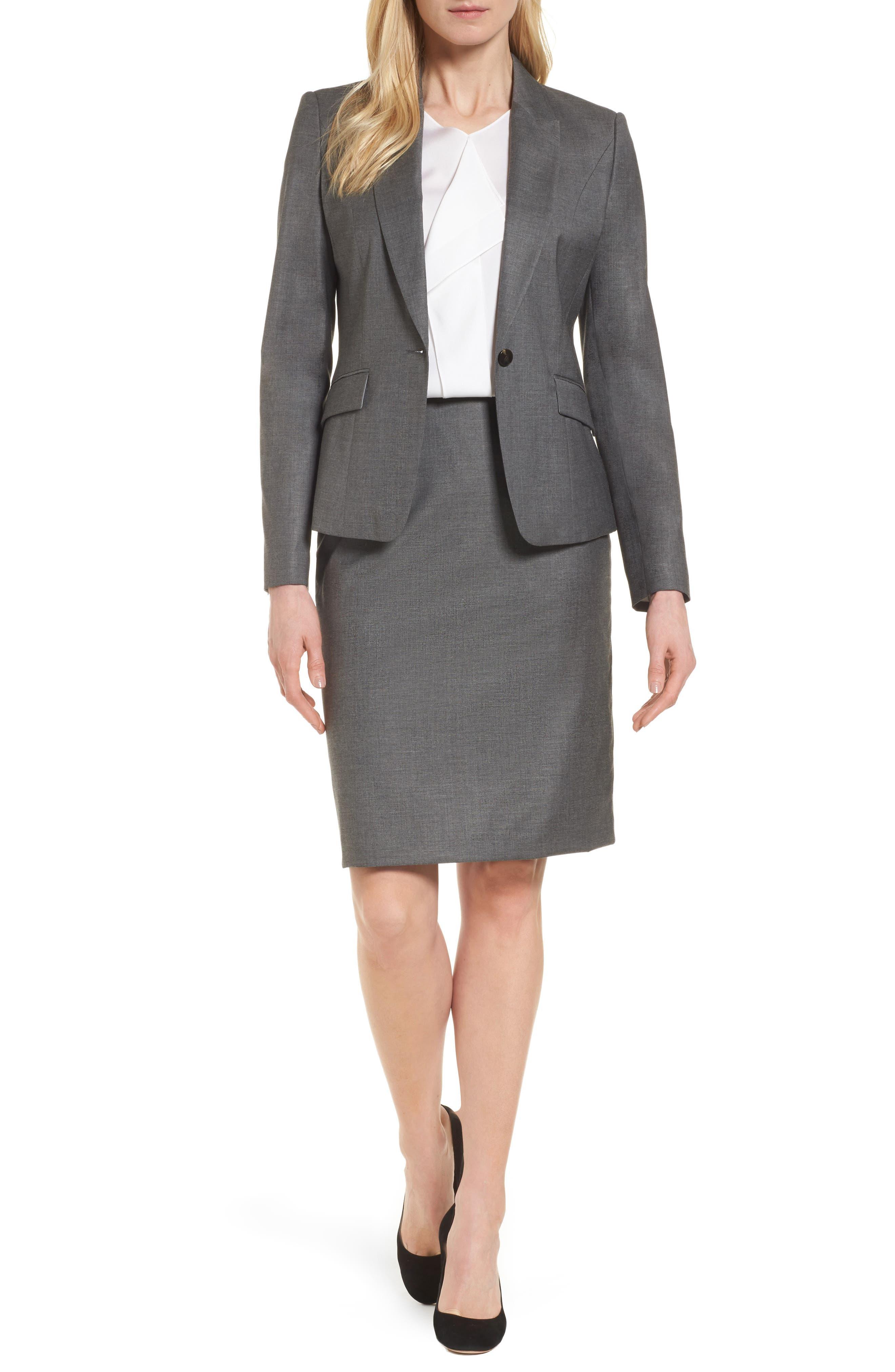 Vileana Wool Blend Suit Skirt,                             Alternate thumbnail 7, color,                             020