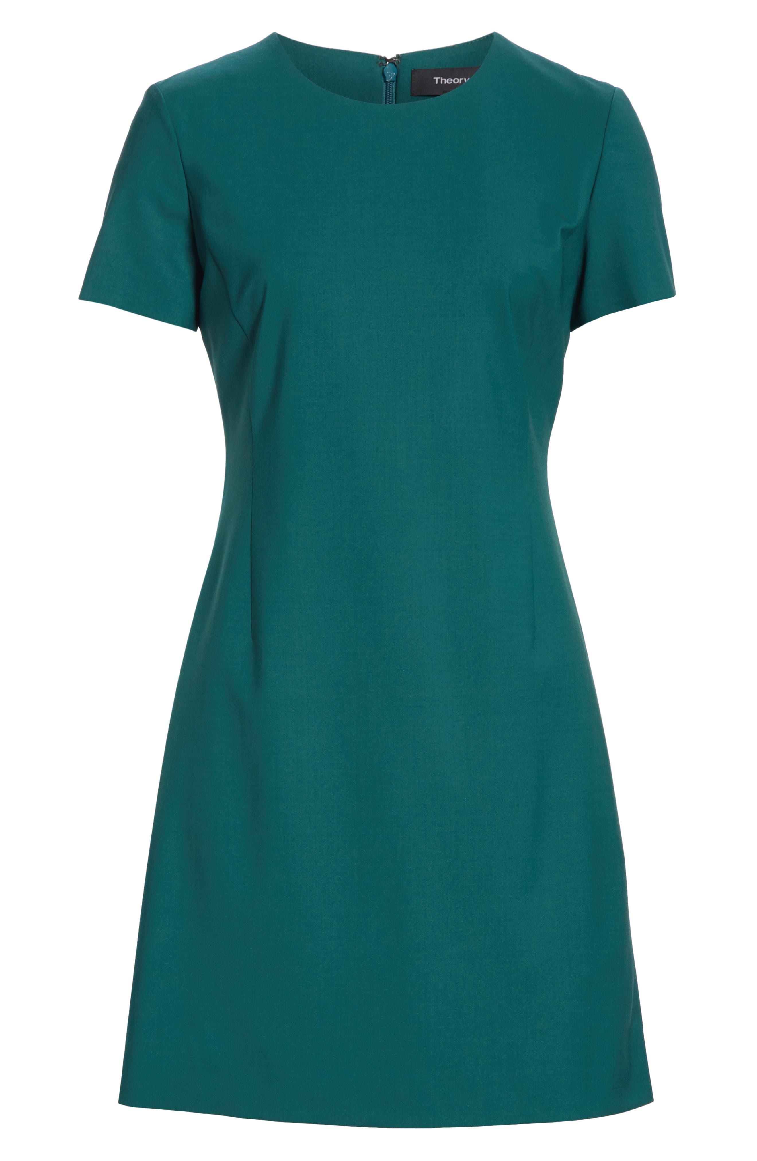 Stretch Wool A-Line Dress,                             Alternate thumbnail 6, color,                             BRIGHT POPLAR