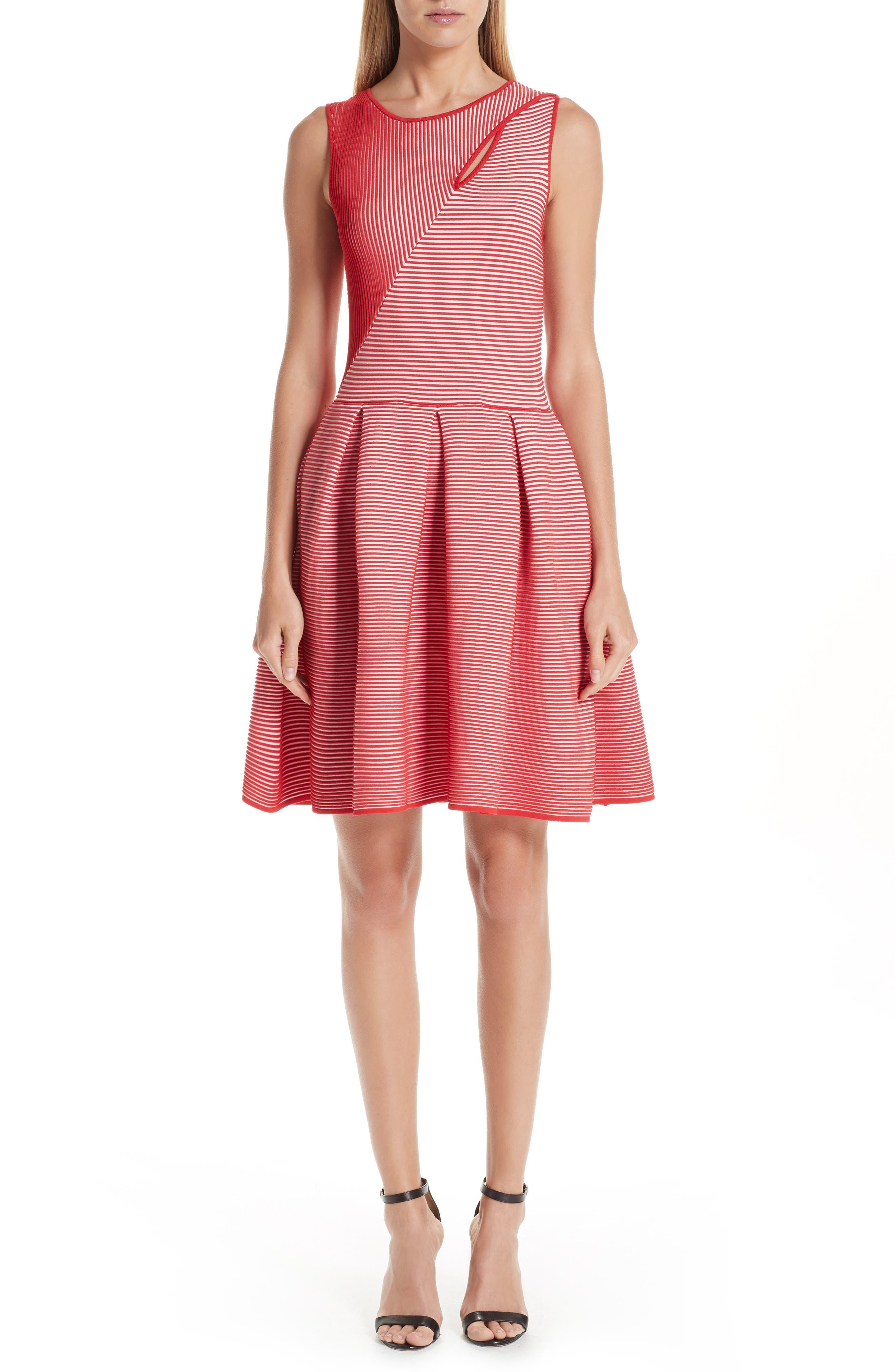 Stripe Knit Jersey Dress,                             Main thumbnail 1, color,                             ROSSO VULCANO