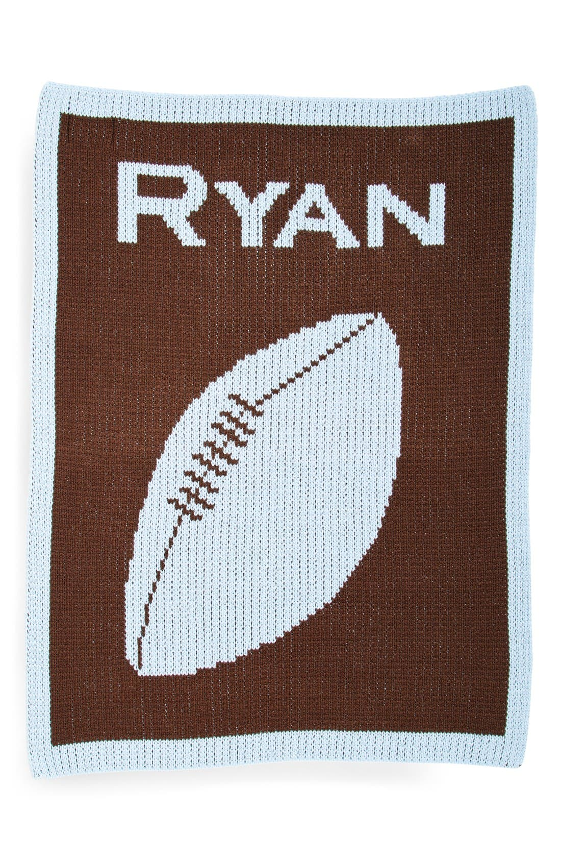'Football' Personalized Blanket,                             Main thumbnail 1, color,                             CHOCLATE/ PALE BLUE