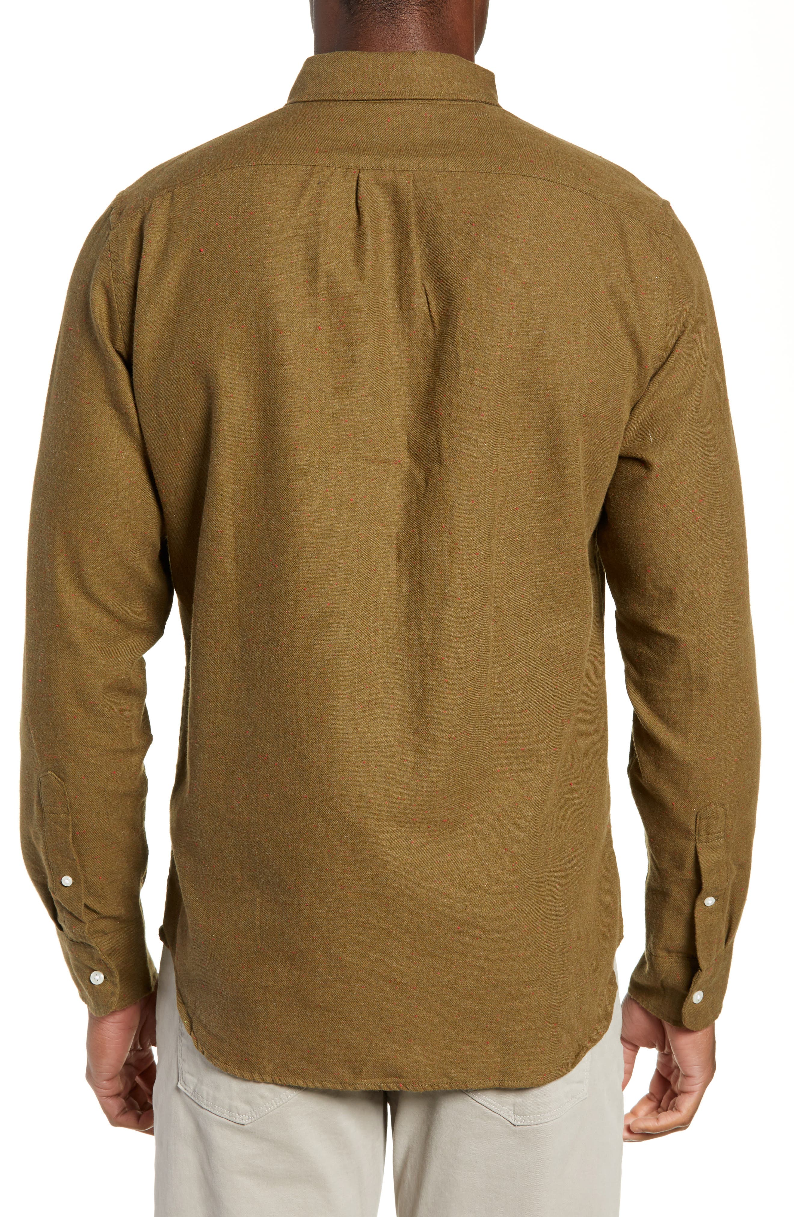 Slim Fit Neppy Twill Sport Shirt,                             Alternate thumbnail 3, color,                             SAFARI FATIGUE HEATHER