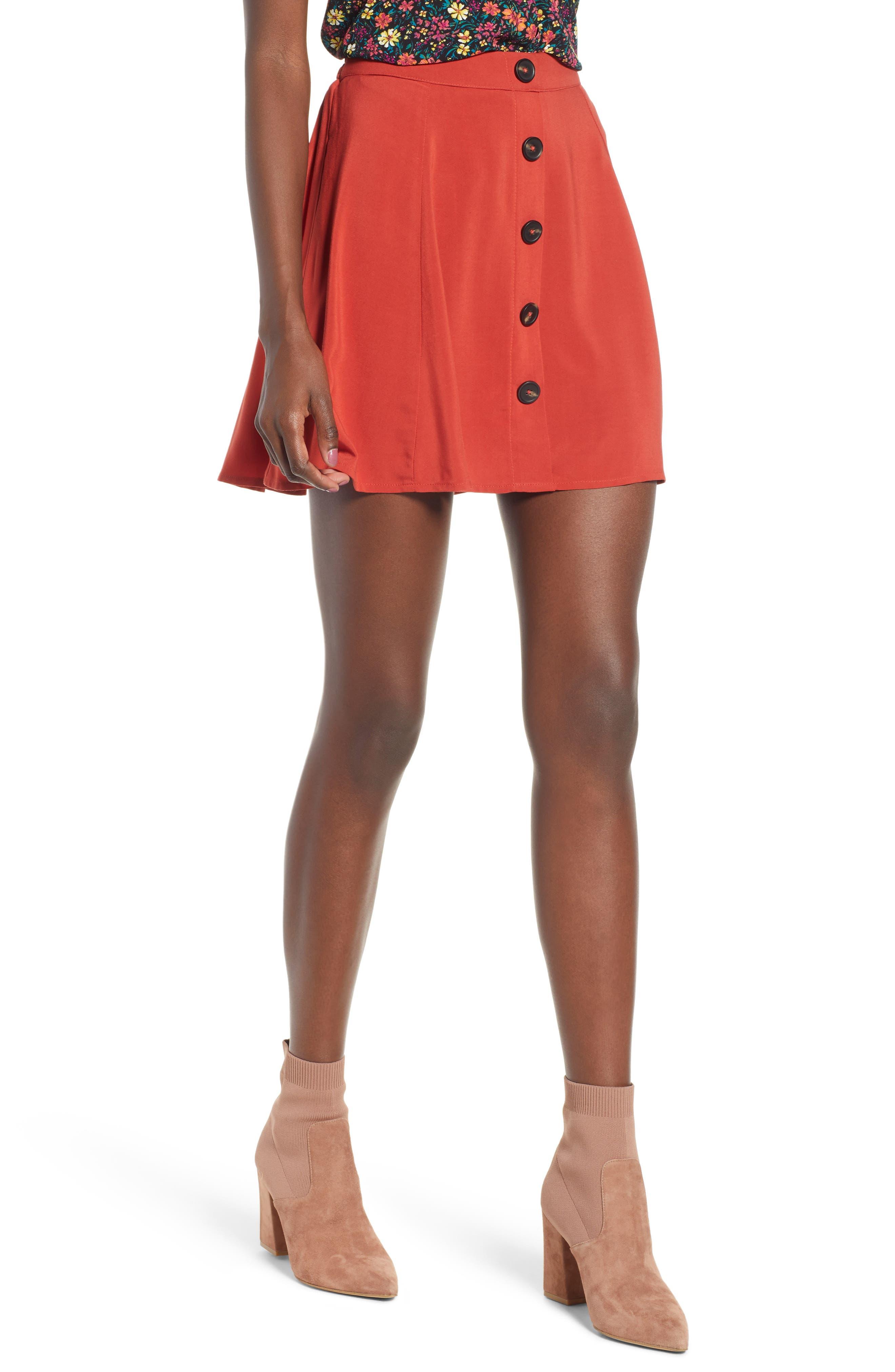 Button Front Skirt,                             Main thumbnail 1, color,                             649