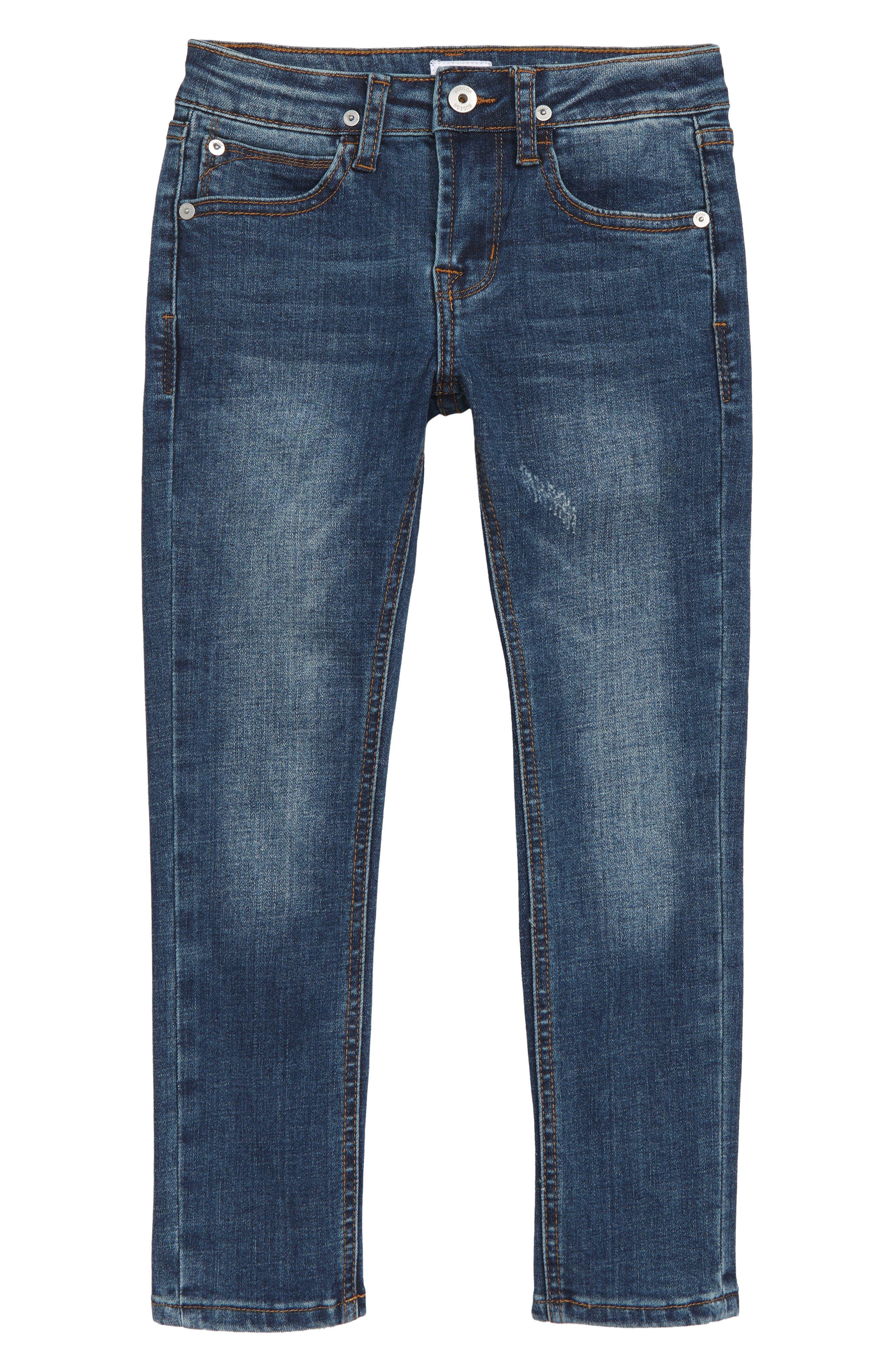 Distressed Slim Straight Leg Jeans,                         Main,                         color, BLAZE