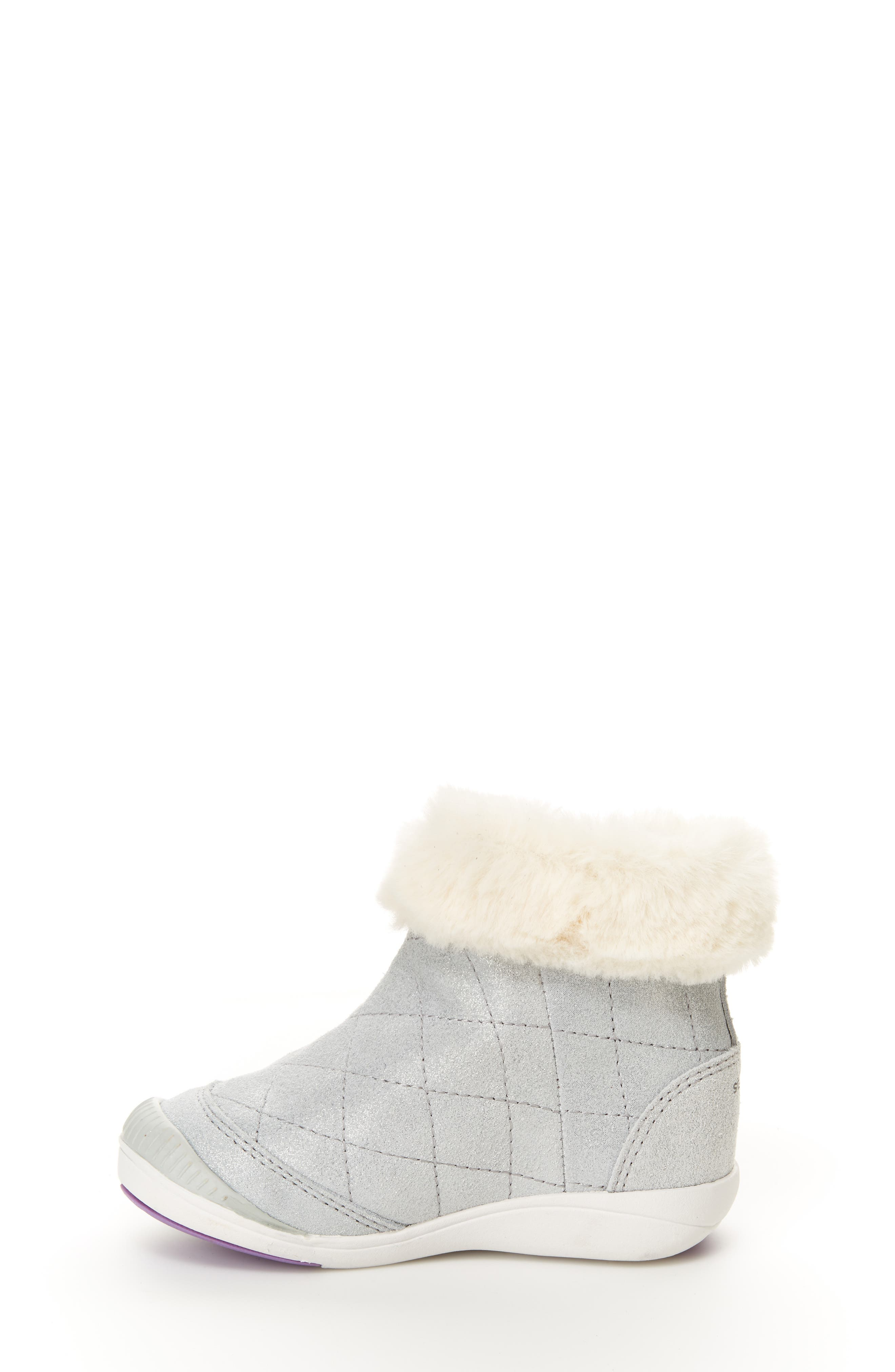 Chloe Faux Fur Quilted Bootie,                             Alternate thumbnail 7, color,                             SILVER