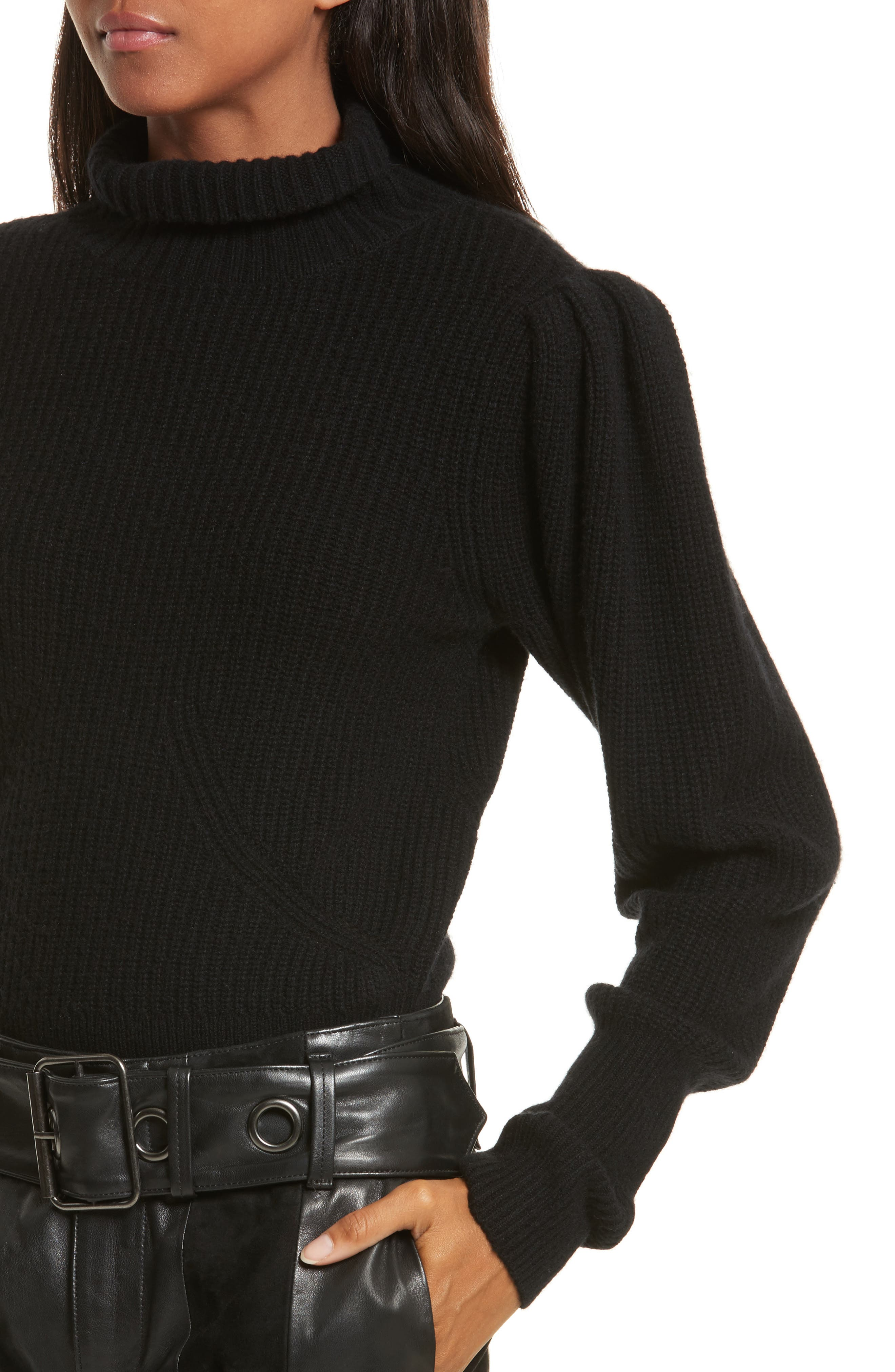 Wool & Cashmere Puff Sleeve Turtleneck Sweater,                             Alternate thumbnail 4, color,                             001