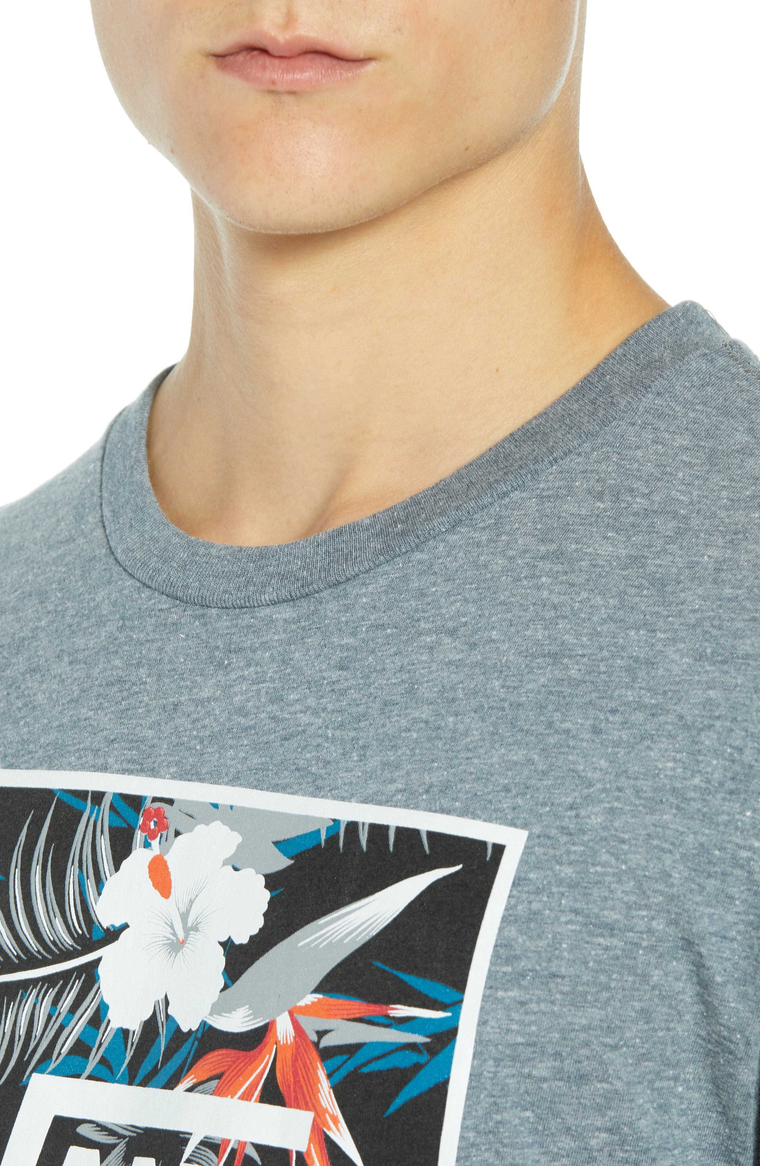 Print Box Graphic T-Shirt,                             Alternate thumbnail 4, color,                             HEATHER GREY/ PEACE OUT FLORAL