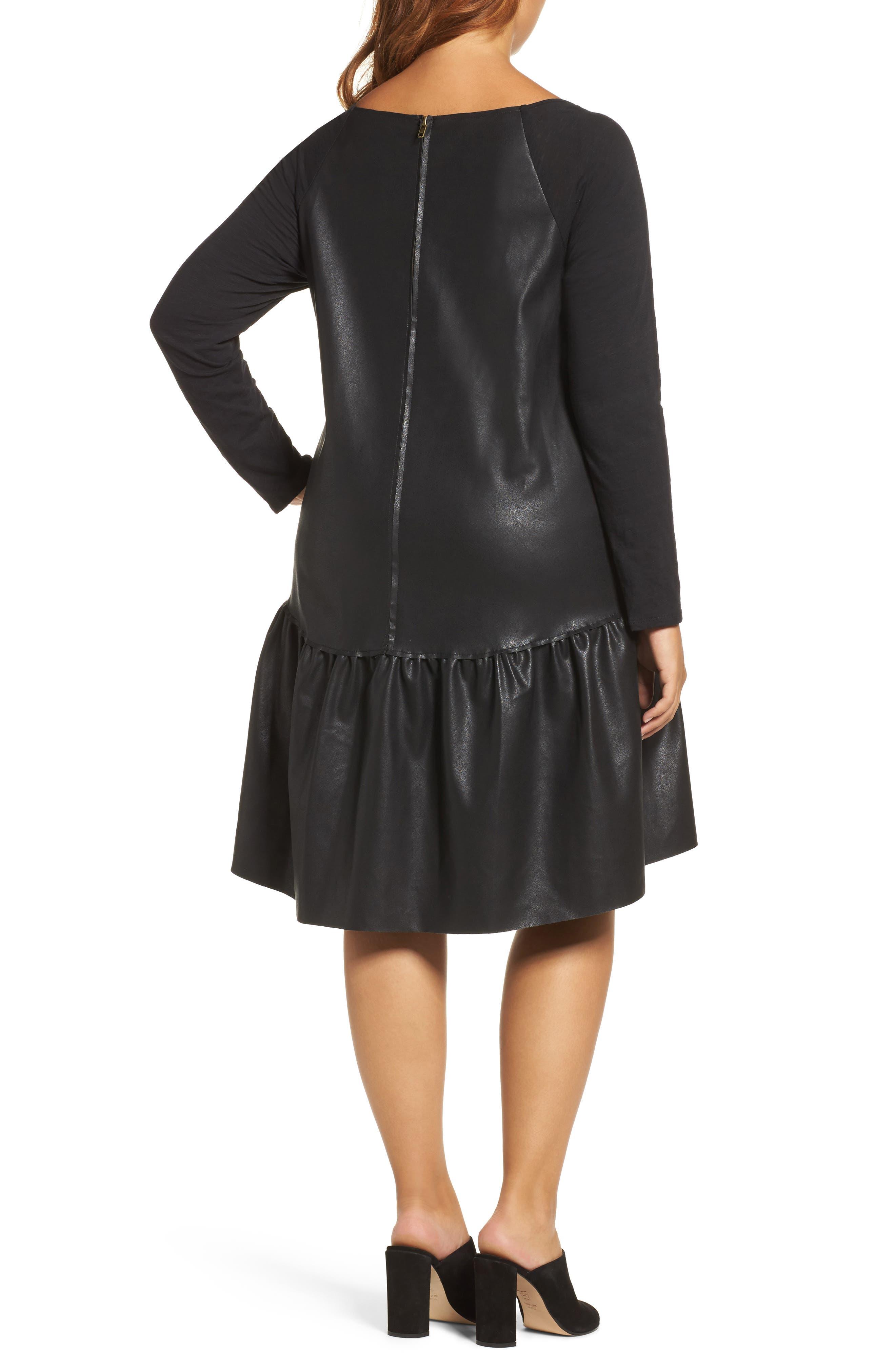 Drop Waist Faux Leather & Knit Dress,                             Alternate thumbnail 2, color,