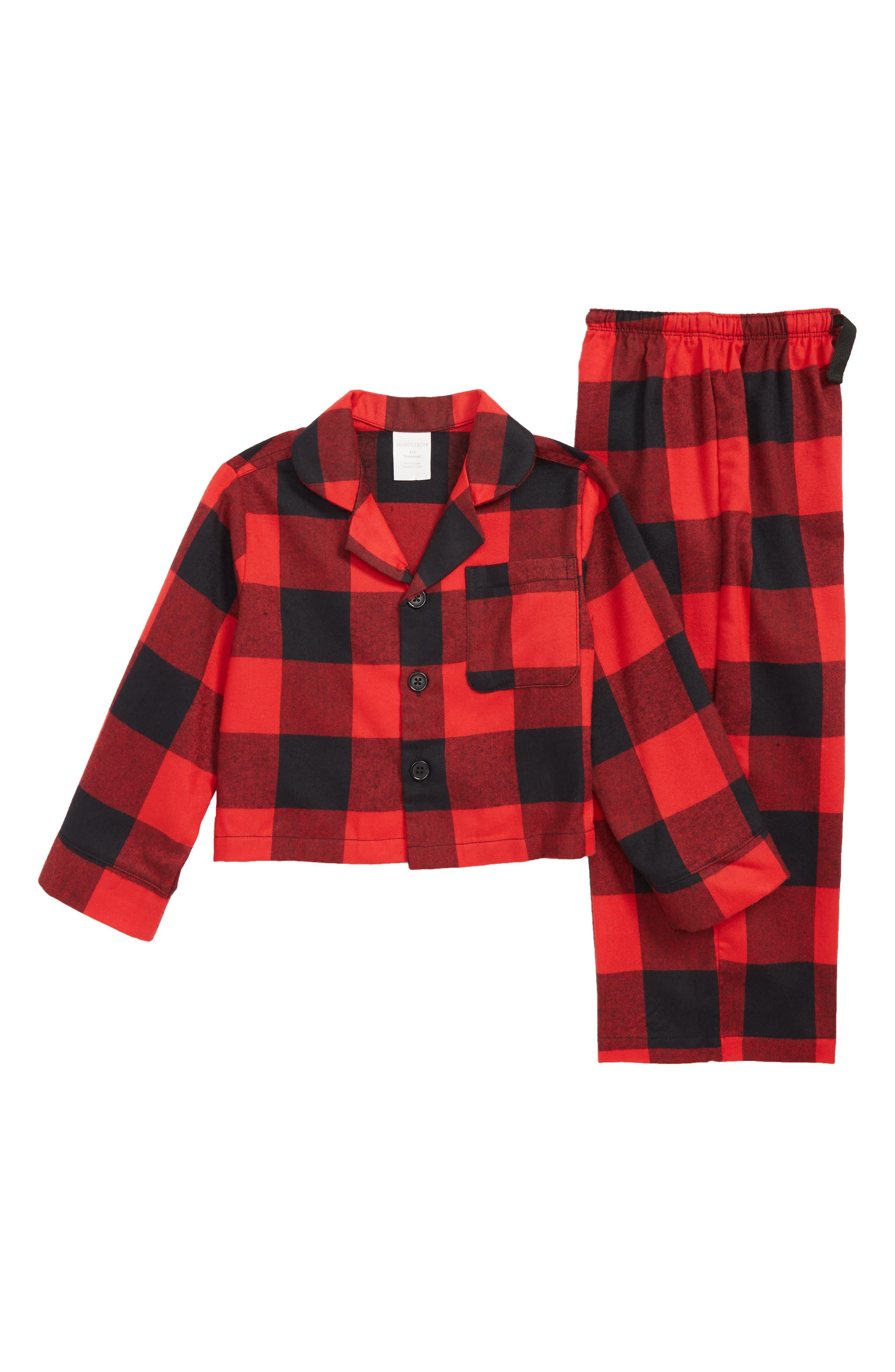Flannel Pajamas,                             Main thumbnail 1, color,                             RED BLOOM LARGE BUFFALO CHECK