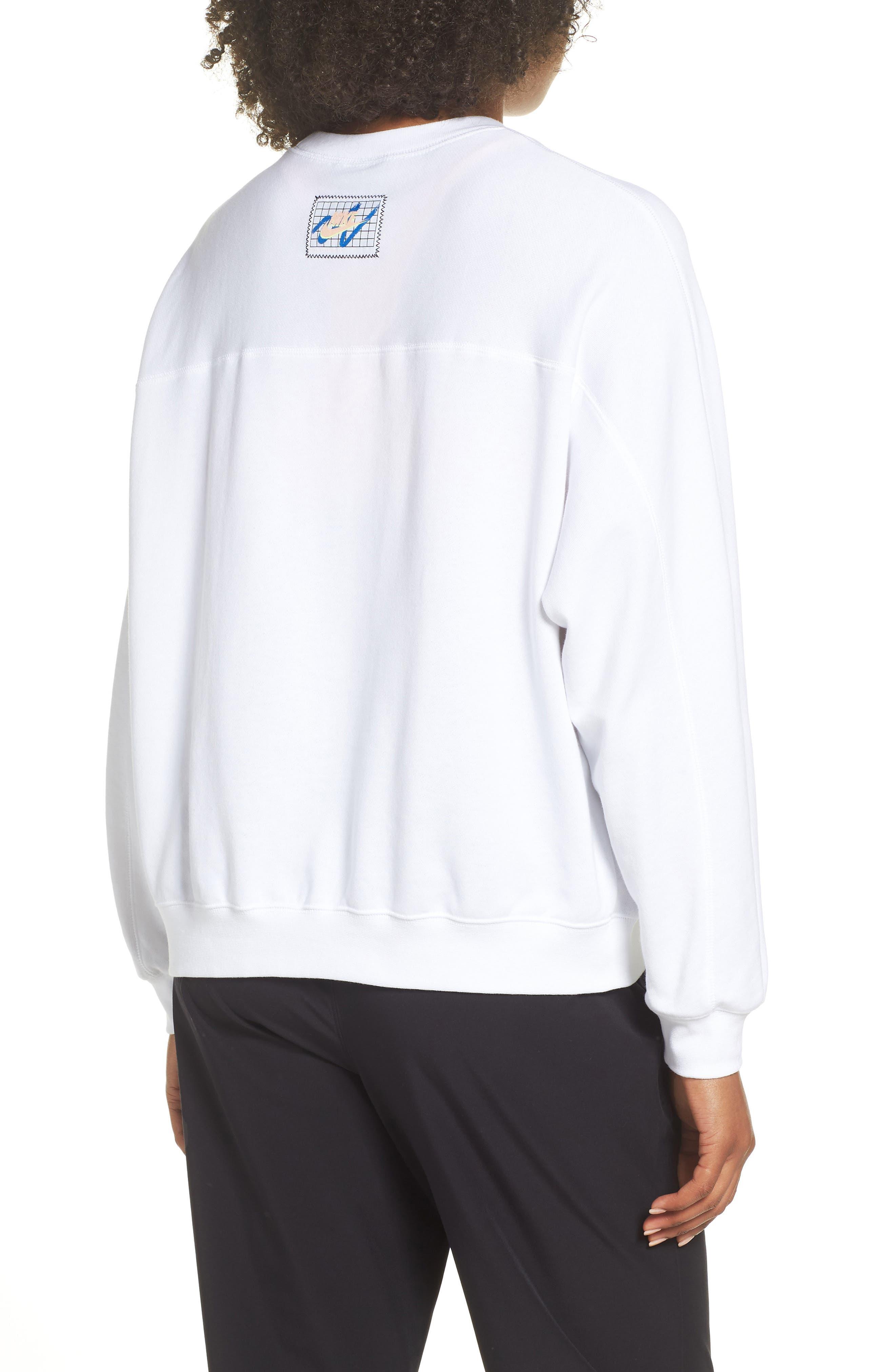 Sportswear Archive Women's Long Sleeve Crewneck Tee,                             Alternate thumbnail 4, color,                             WHITE/ WHITE/ WHITE