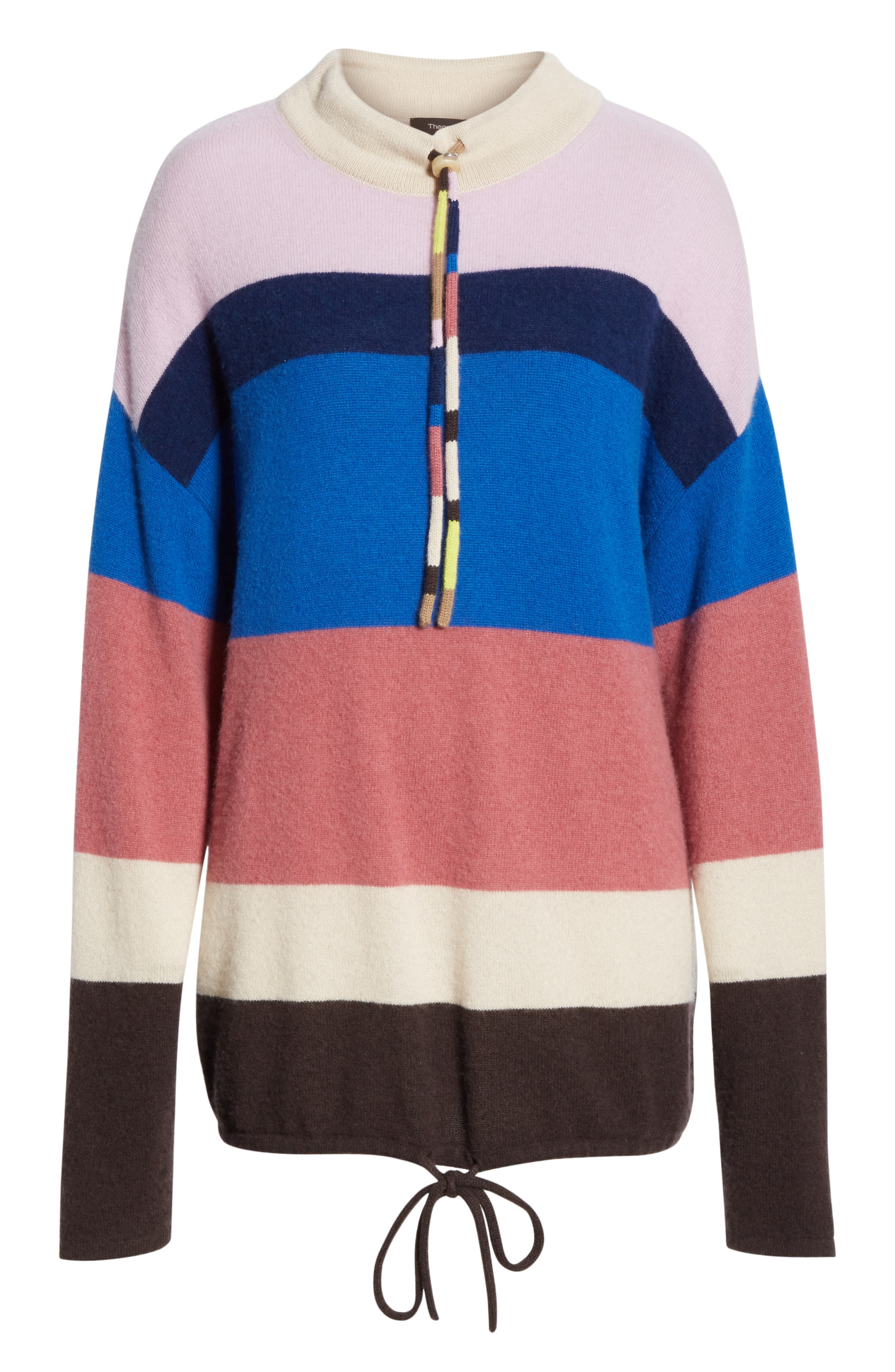 Stripe Mock Neck Cashmere Pullover,                             Alternate thumbnail 6, color,                             ROYAL BLUE MULTI