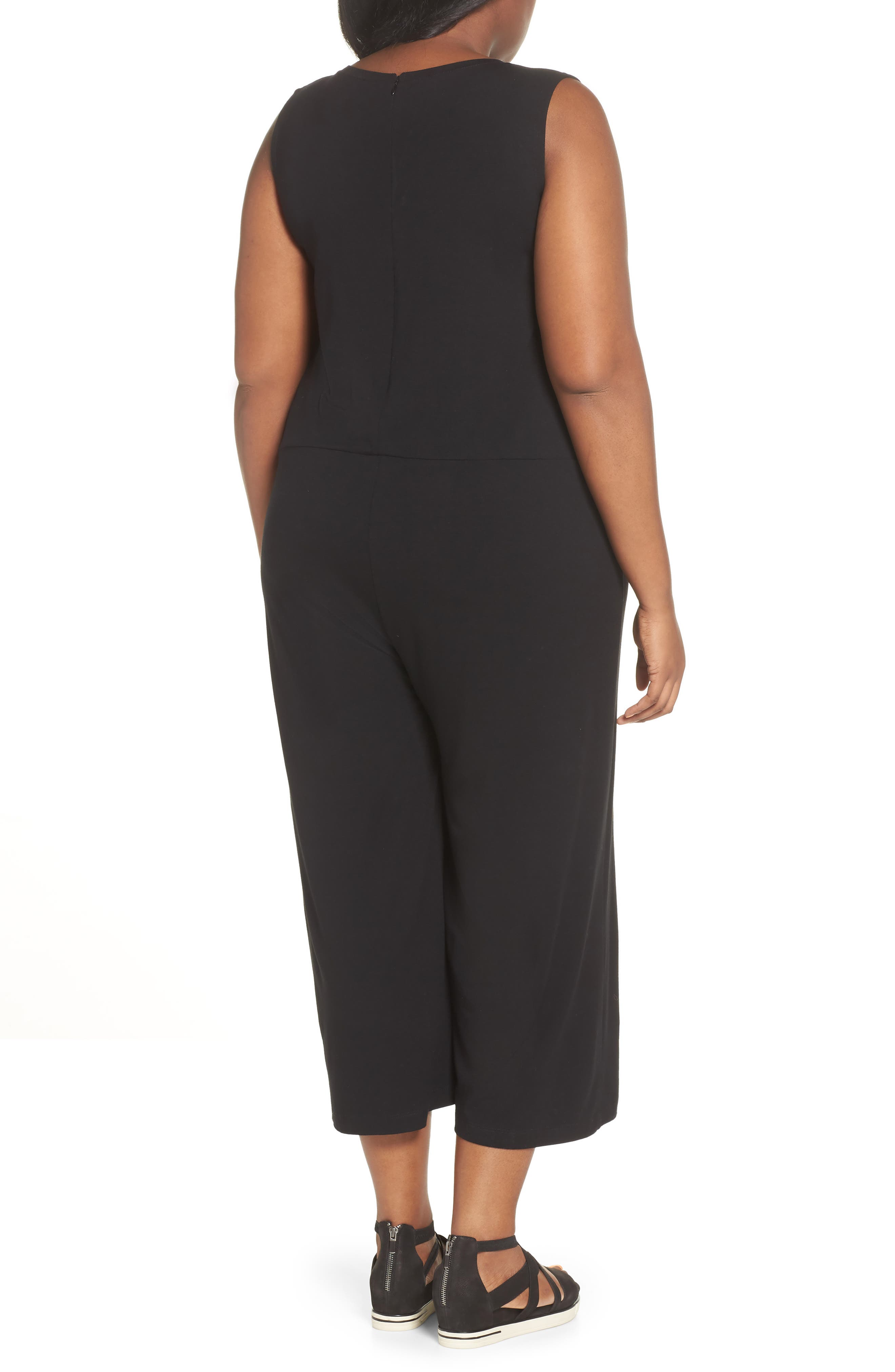 Sleeveless Crop Jumpsuit,                             Alternate thumbnail 2, color,                             001